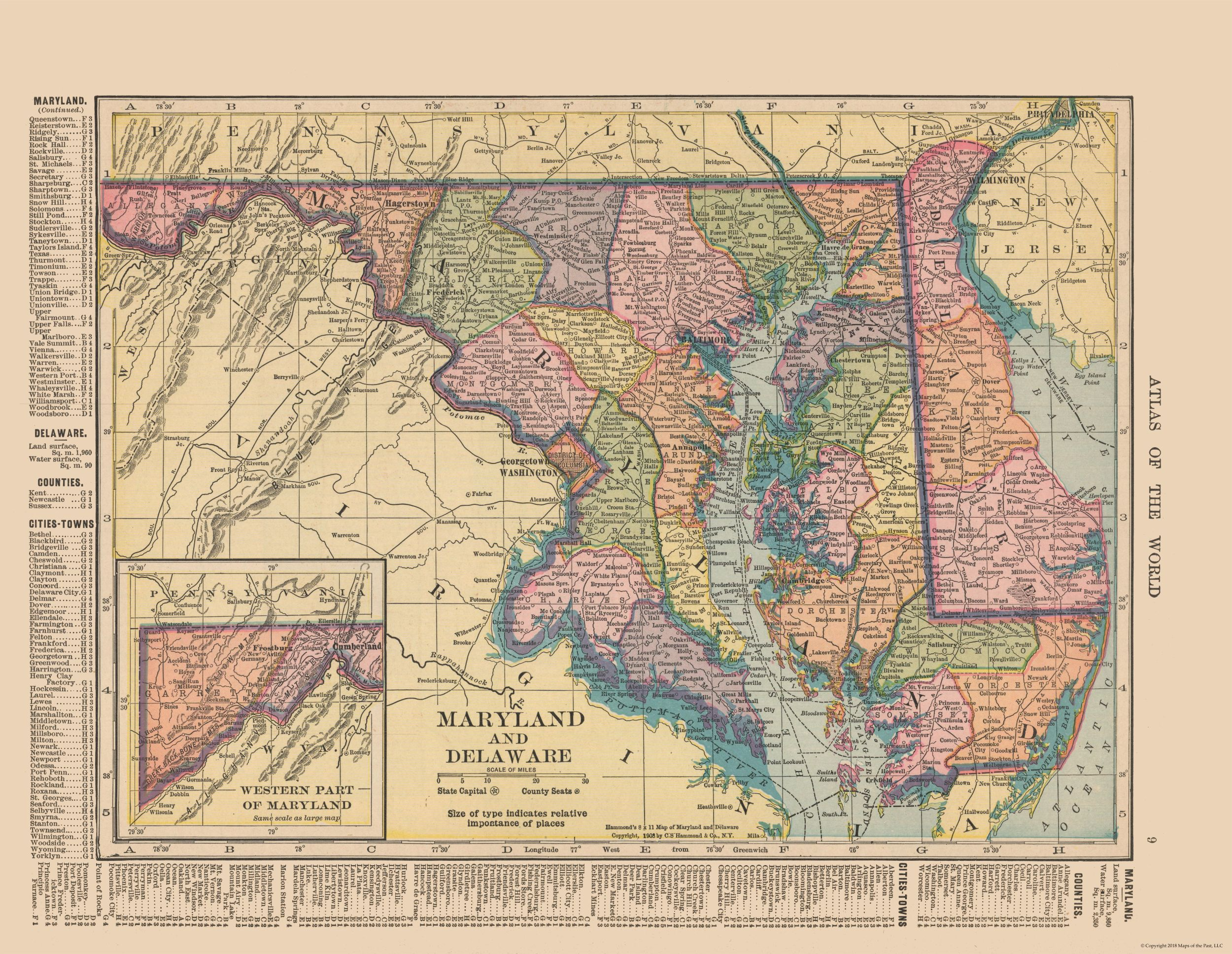 Old State Maps | Maryland and Delaware - Hammond\'s Atlas 1910 ...