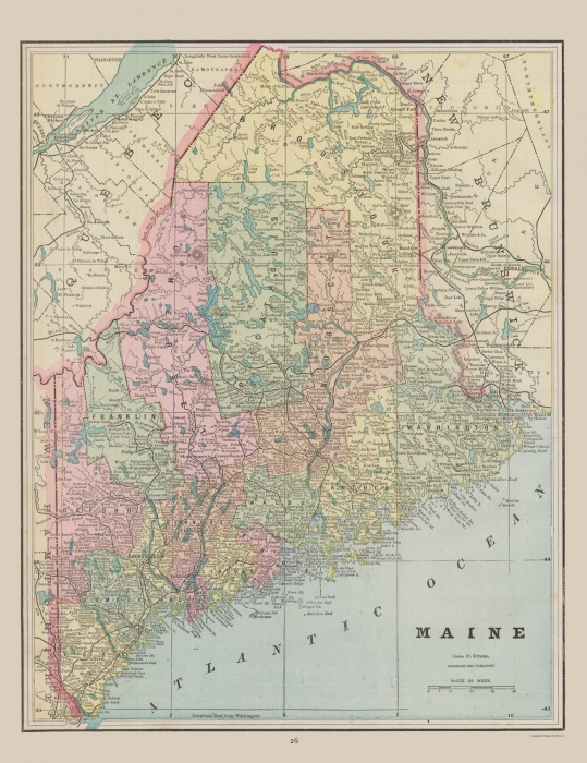 photo relating to Printable Map of Maine called Previous Country Map - Maine - Cram 1892 - 23 x 29.86