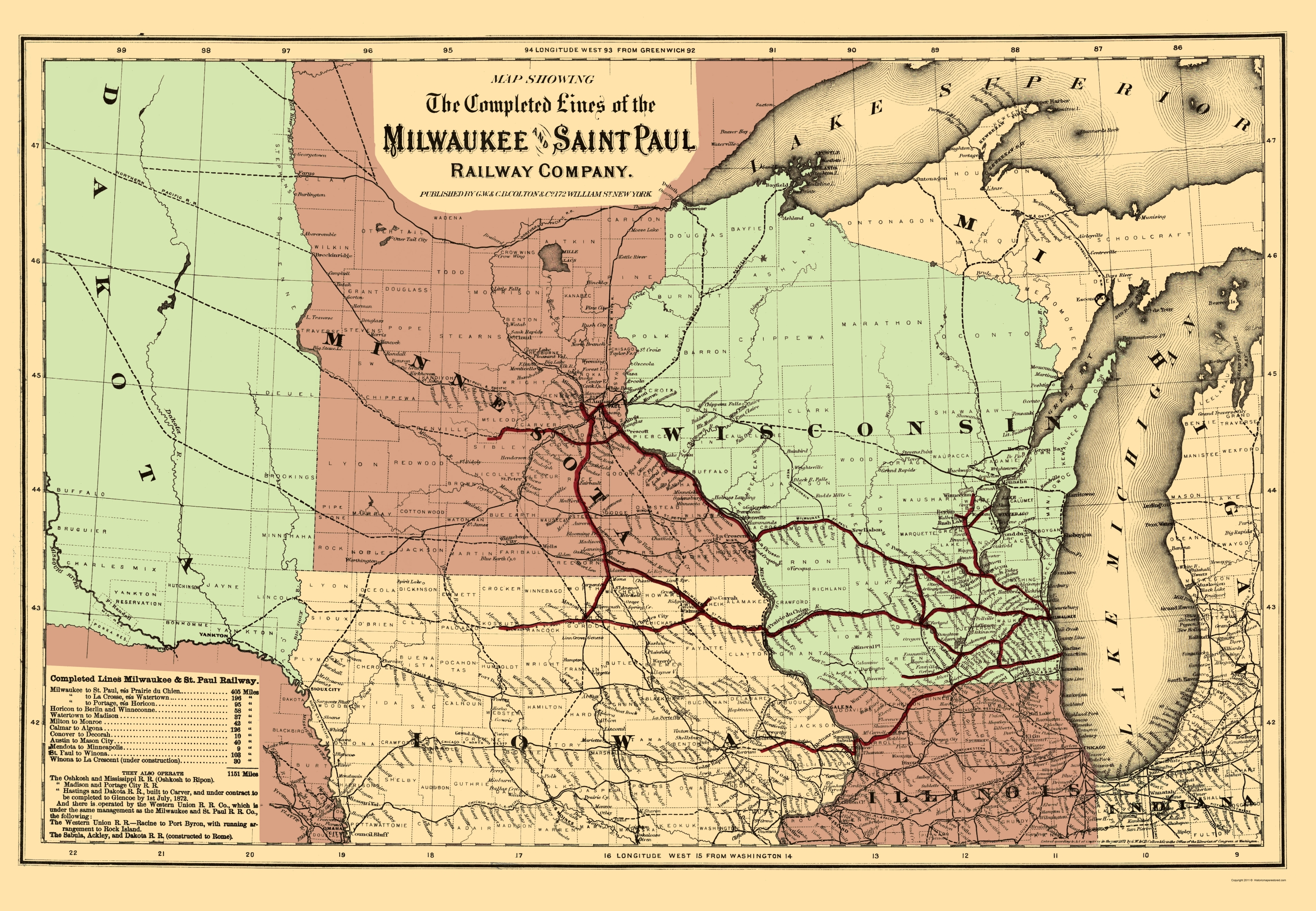 Old Railroad Map Milwaukee and Saint Paul Railway 1872