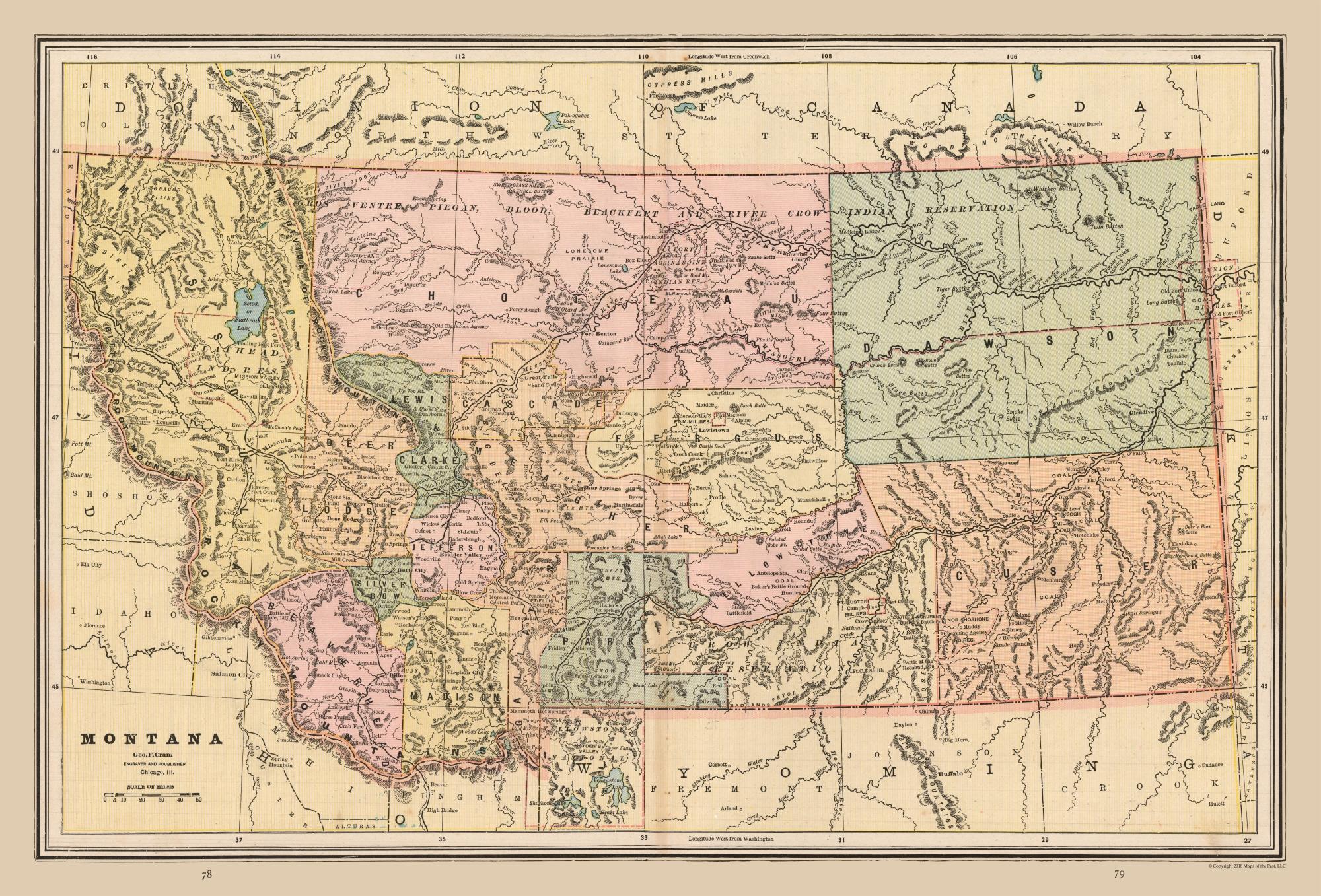 Old State Maps - Montana - Cram\'s Atlas 1888 - 33.90 x 23