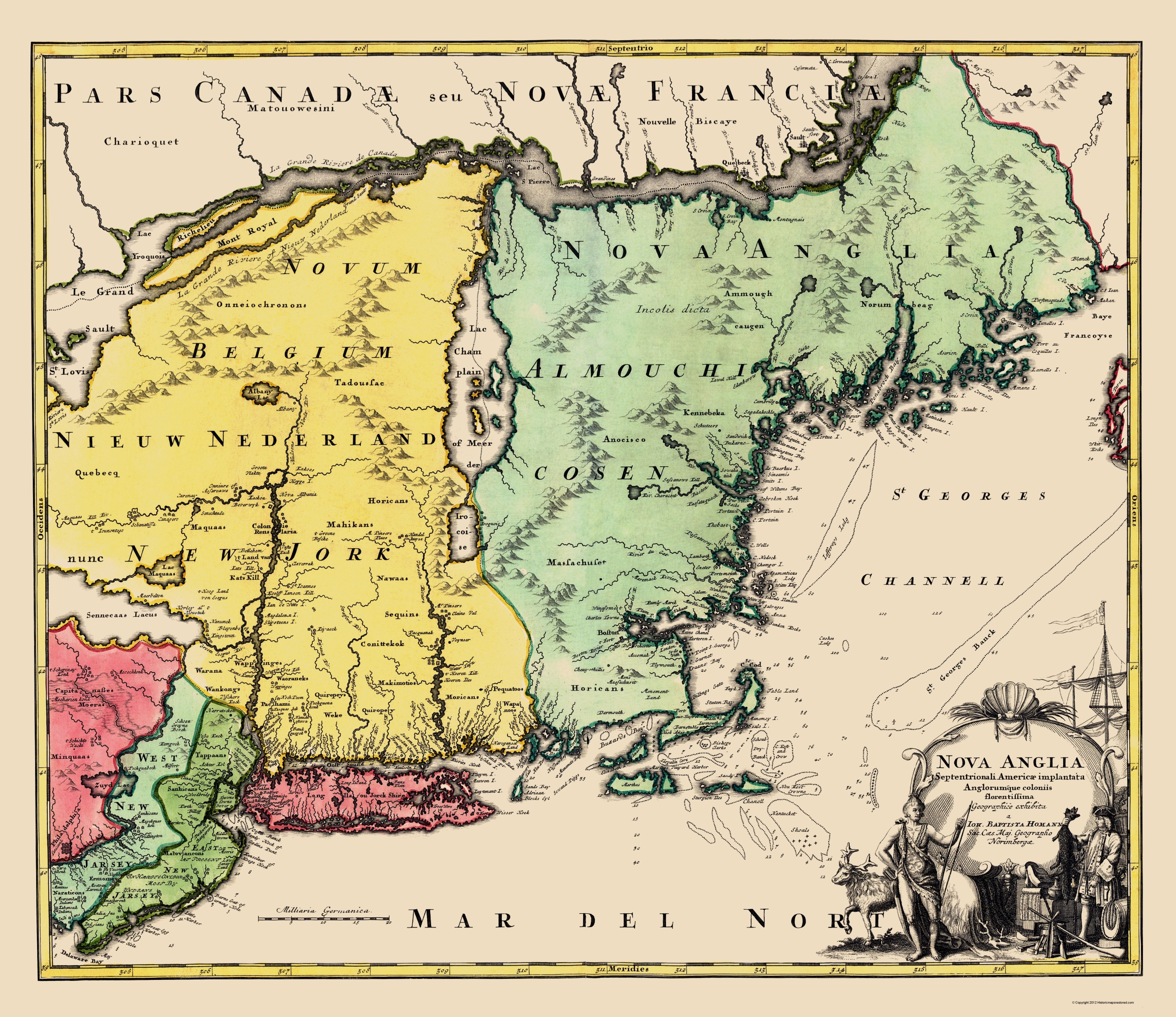 Old State Map - New England, United States - Homann 1759 - 23 x 26.60