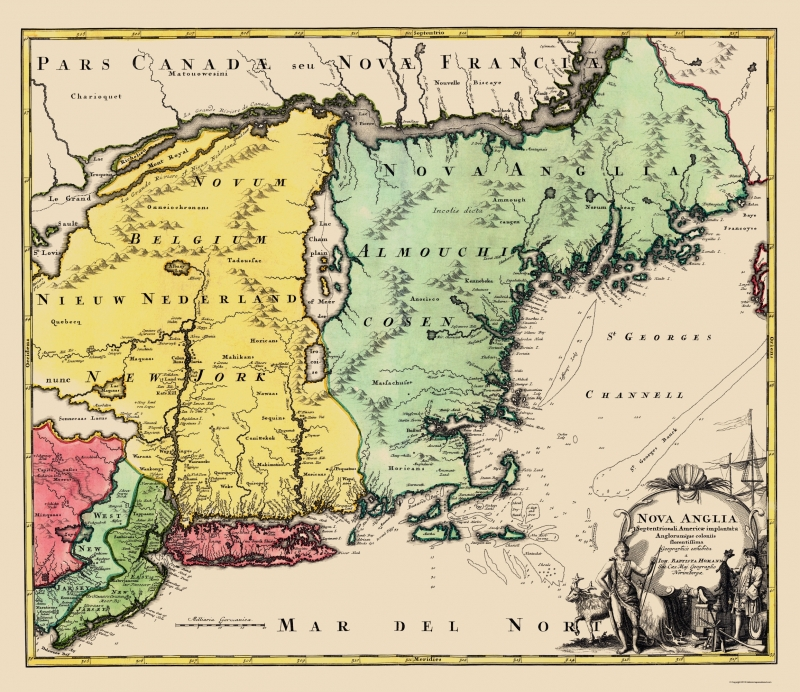 Old State Map New England United States Homann 1759 23 X 26 60