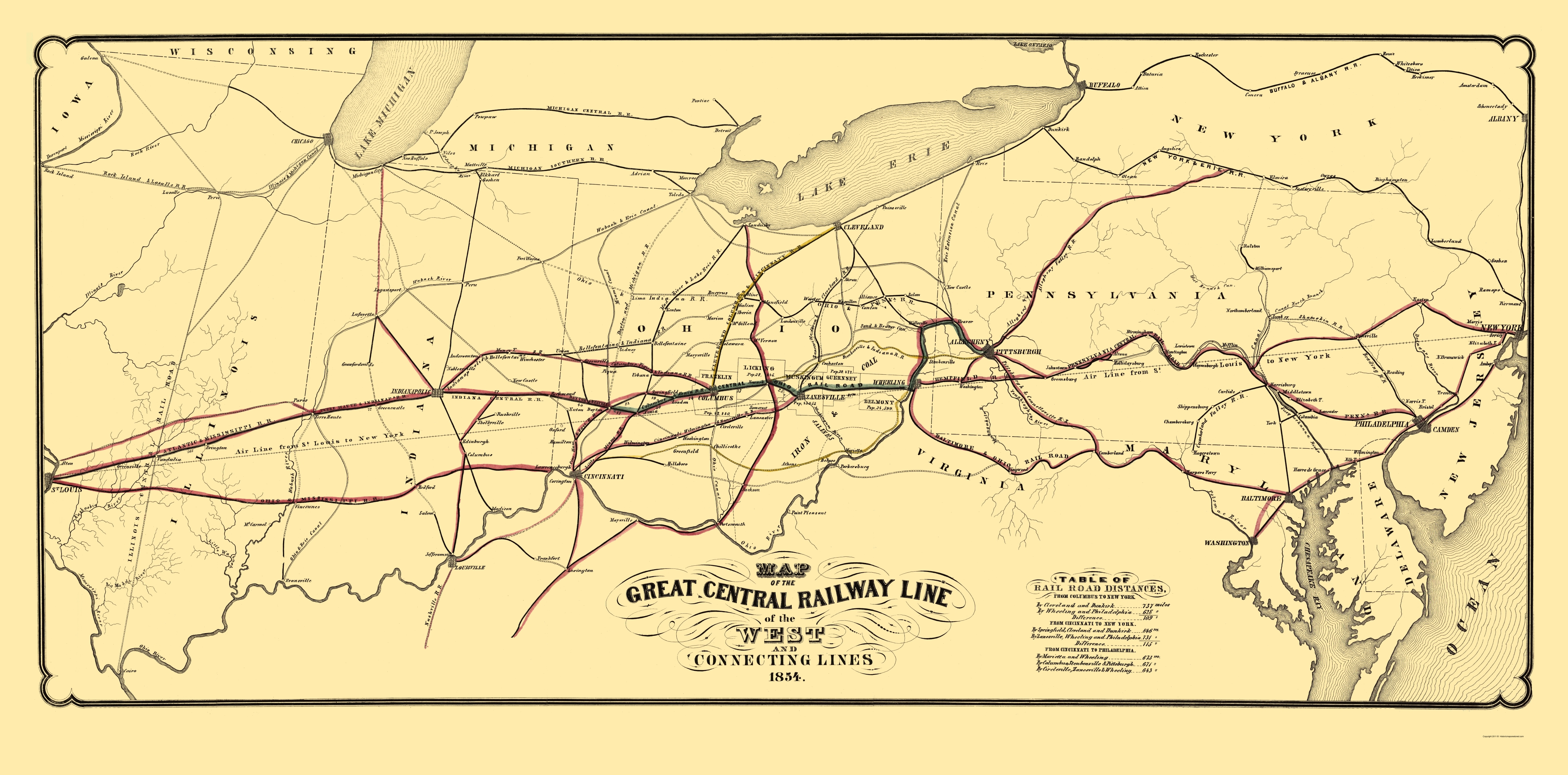Old Map Great Central Railway Line of the West 1854
