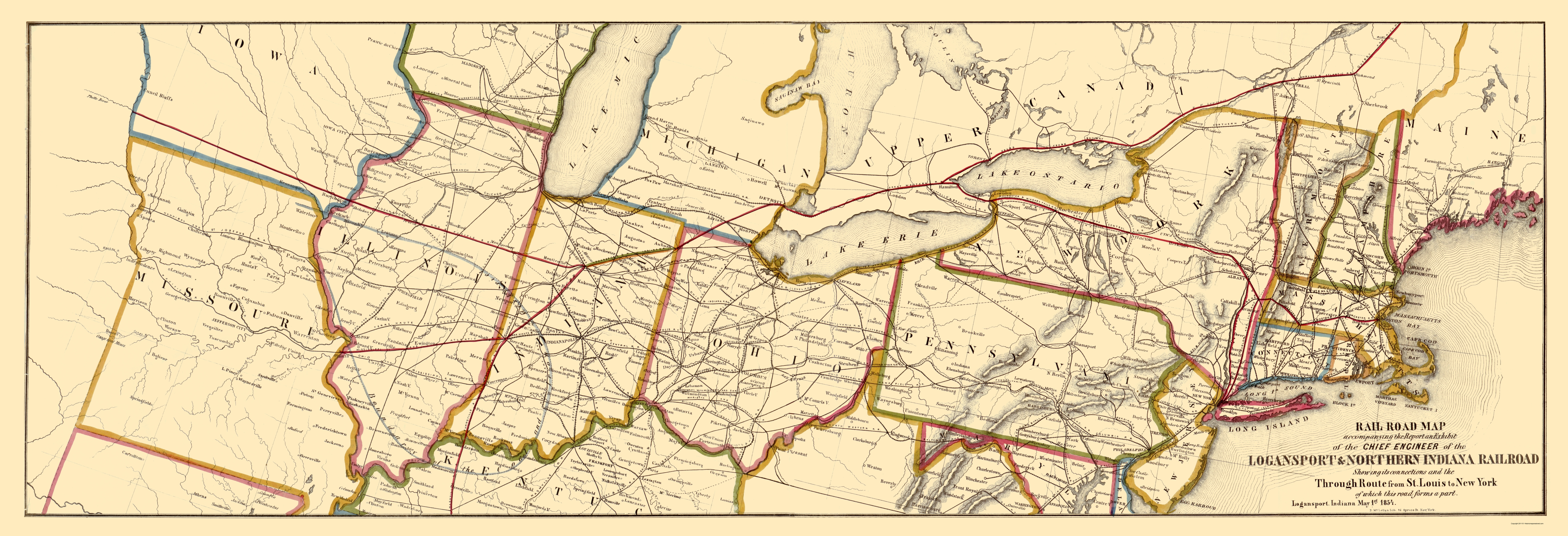 Old Map Logansport And Northern Indiana Railroad 1854 - 1854-us-map