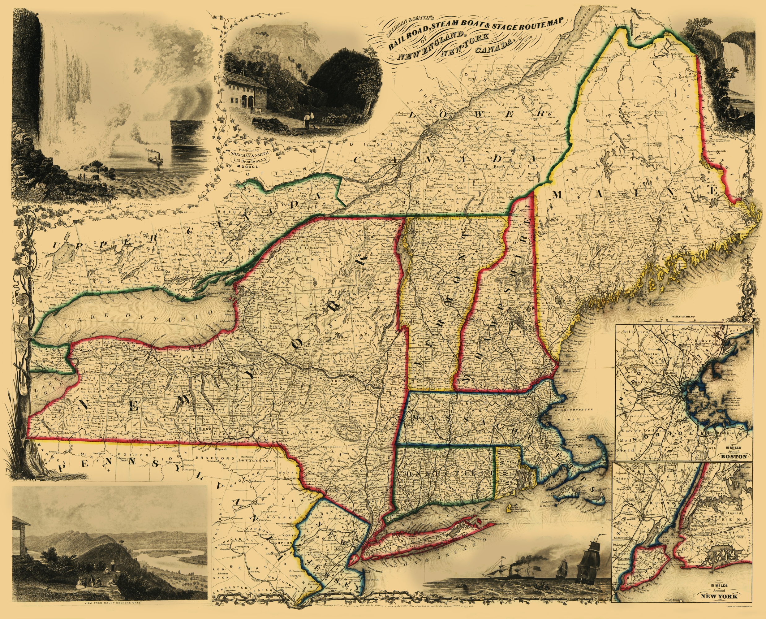 Map Of New York 1850.Old Travel Map Railroad Steam Boat Stage Routes Sherman 1850 23 X 28 47