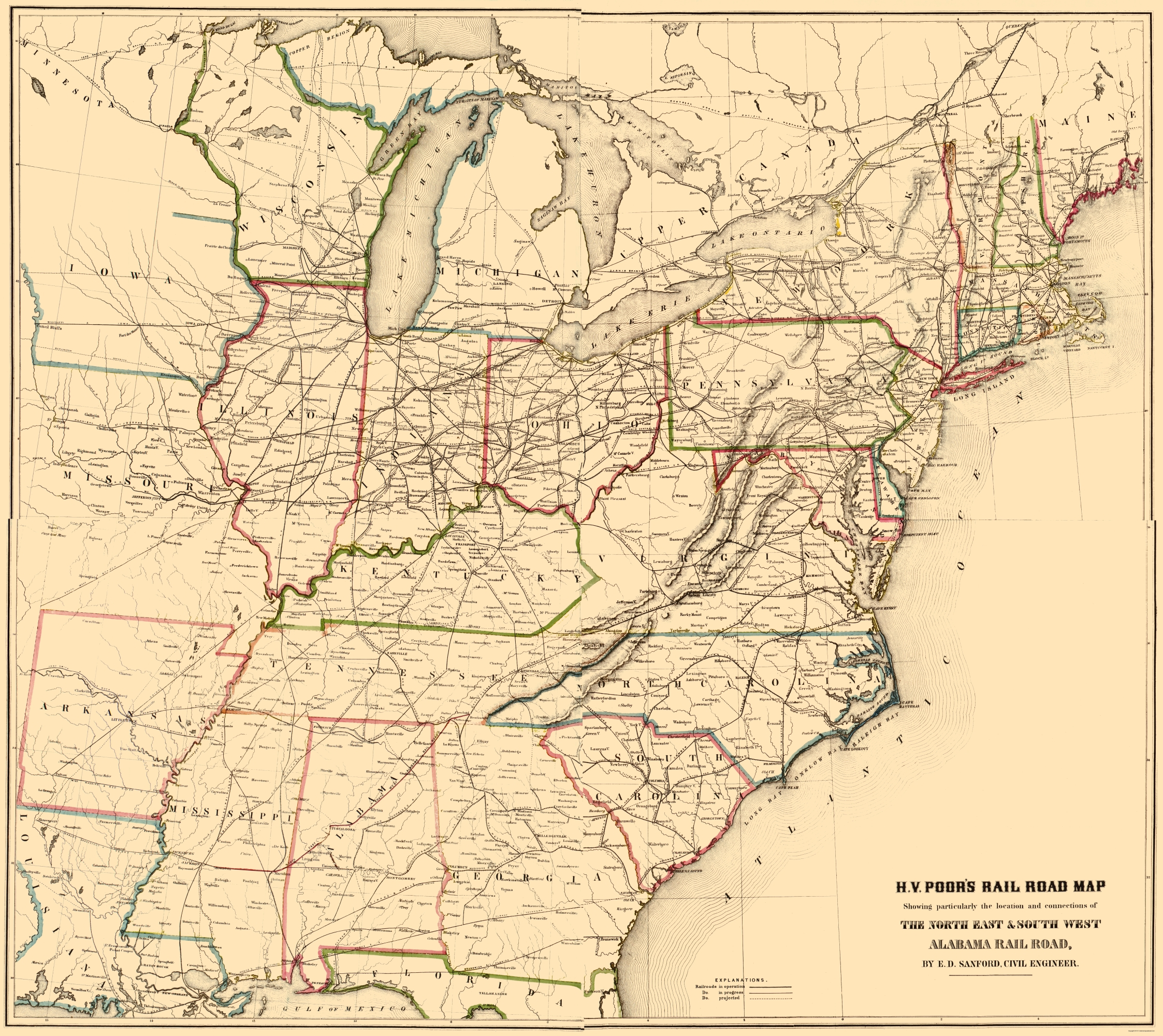 Old Railroad Map North East South West Alabama 1854