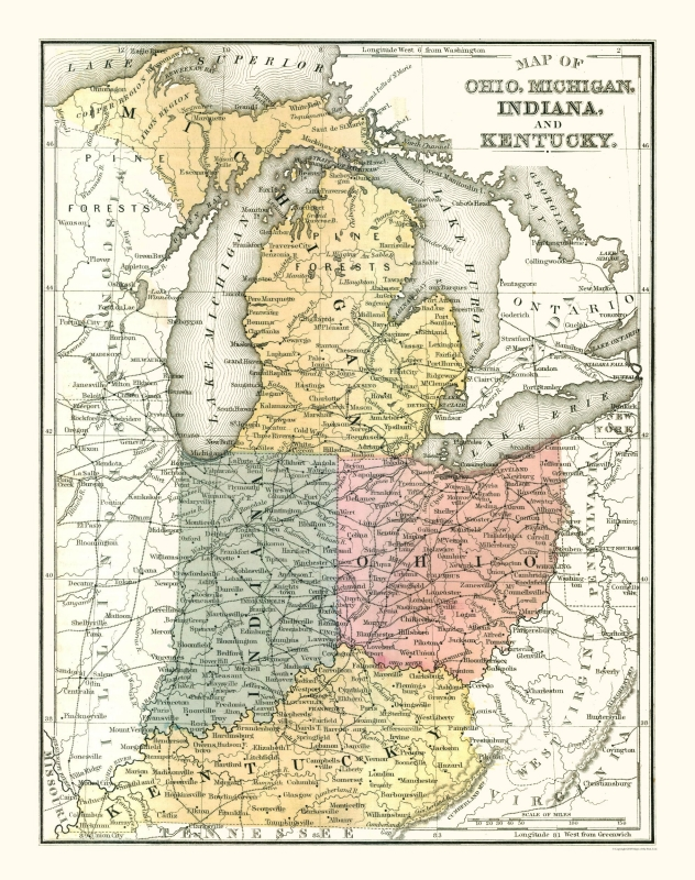 map of ohio indiana and kentucky Old State Maps Ohio Michigan Indiana Kentucky Mitchell 1869 map of ohio indiana and kentucky