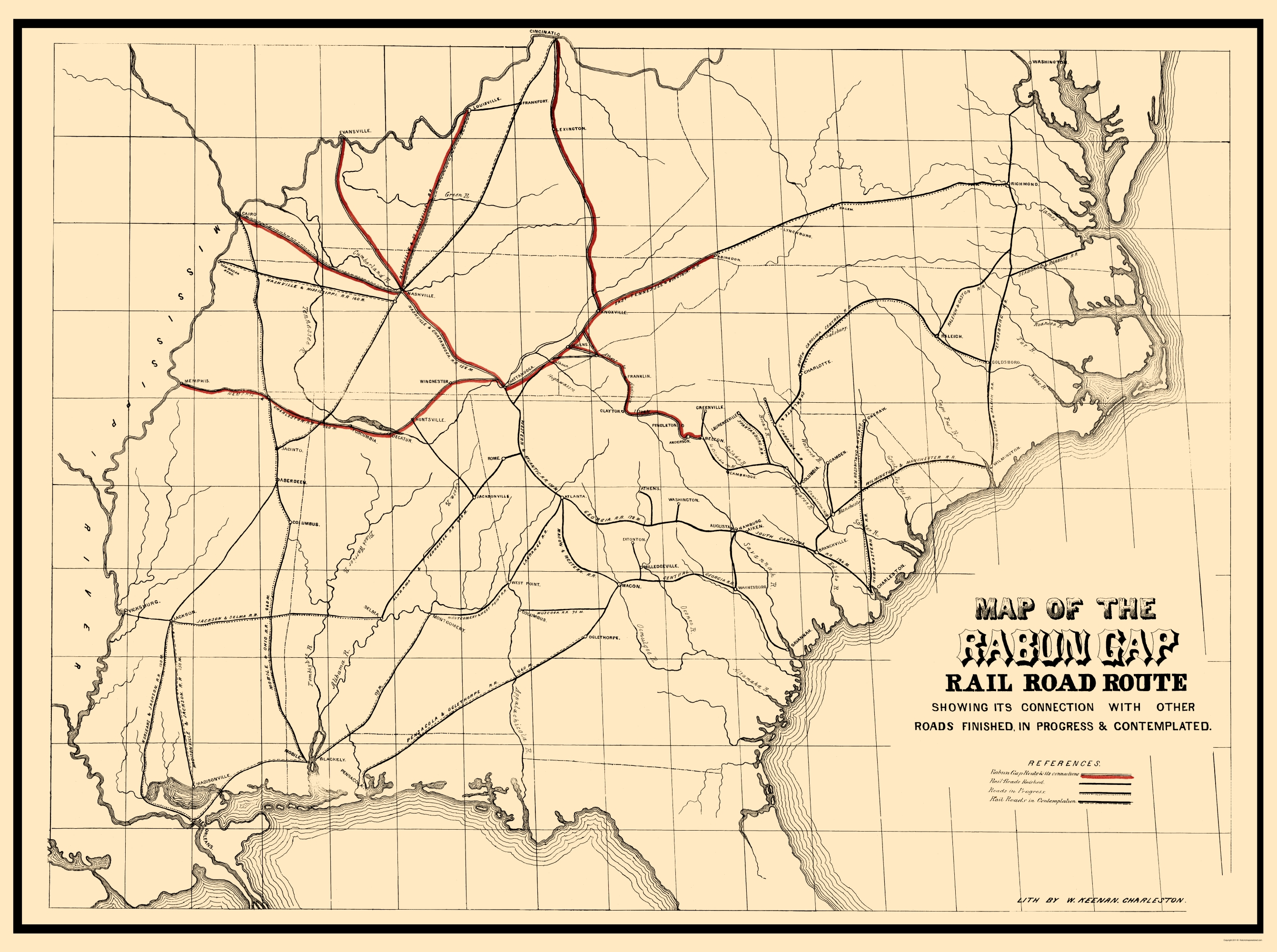 Old Railroad Map Rabun Gap Railroad 1850