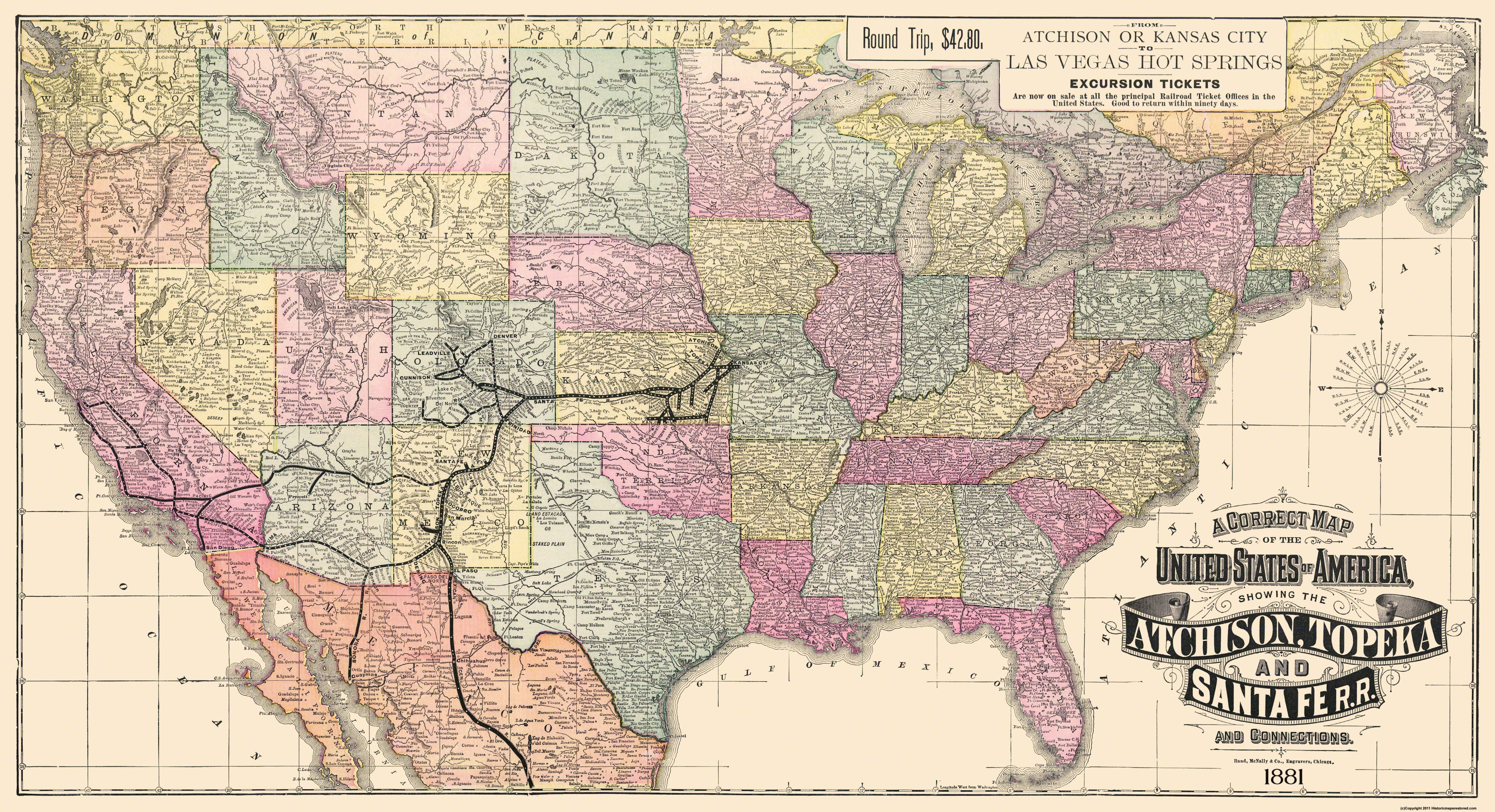 Historic Railroad Map Prints Maps Of The Past - Us transcontinental railroad map