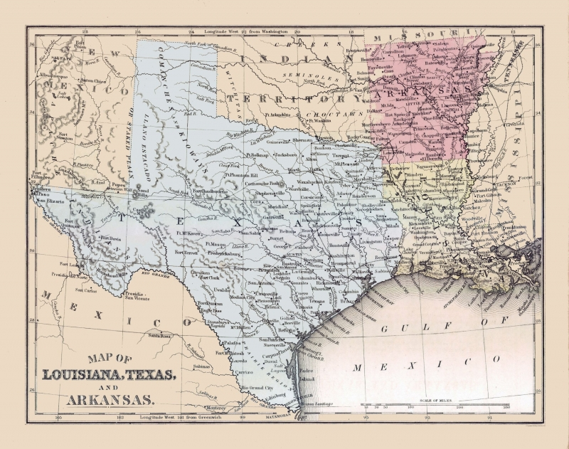 Louisiana Texas Map Old State Maps | Louisiana Texas Arkansas   Mitchell 1877   29.17 x 23