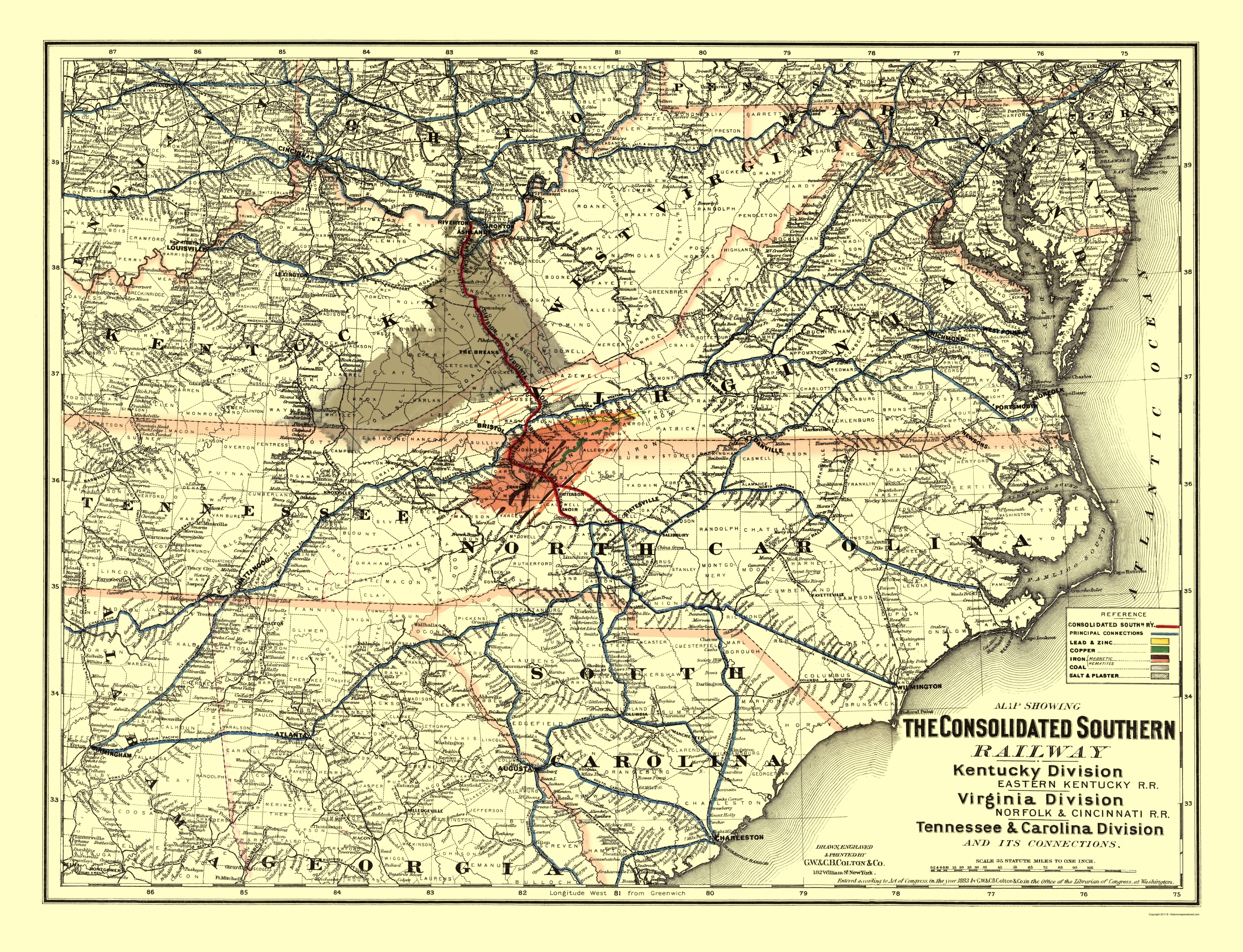 Old Railroad Map - Consolidated Southern Railway 1883