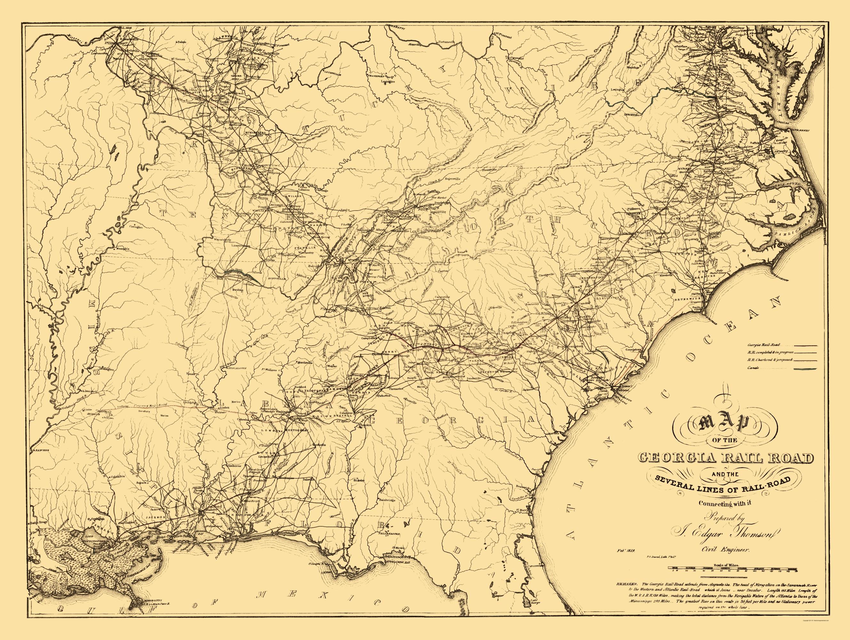 Railroad Map Of Georgia.Old Railroad Map Georgia Railroad Thompson 1839 23 X 30 56