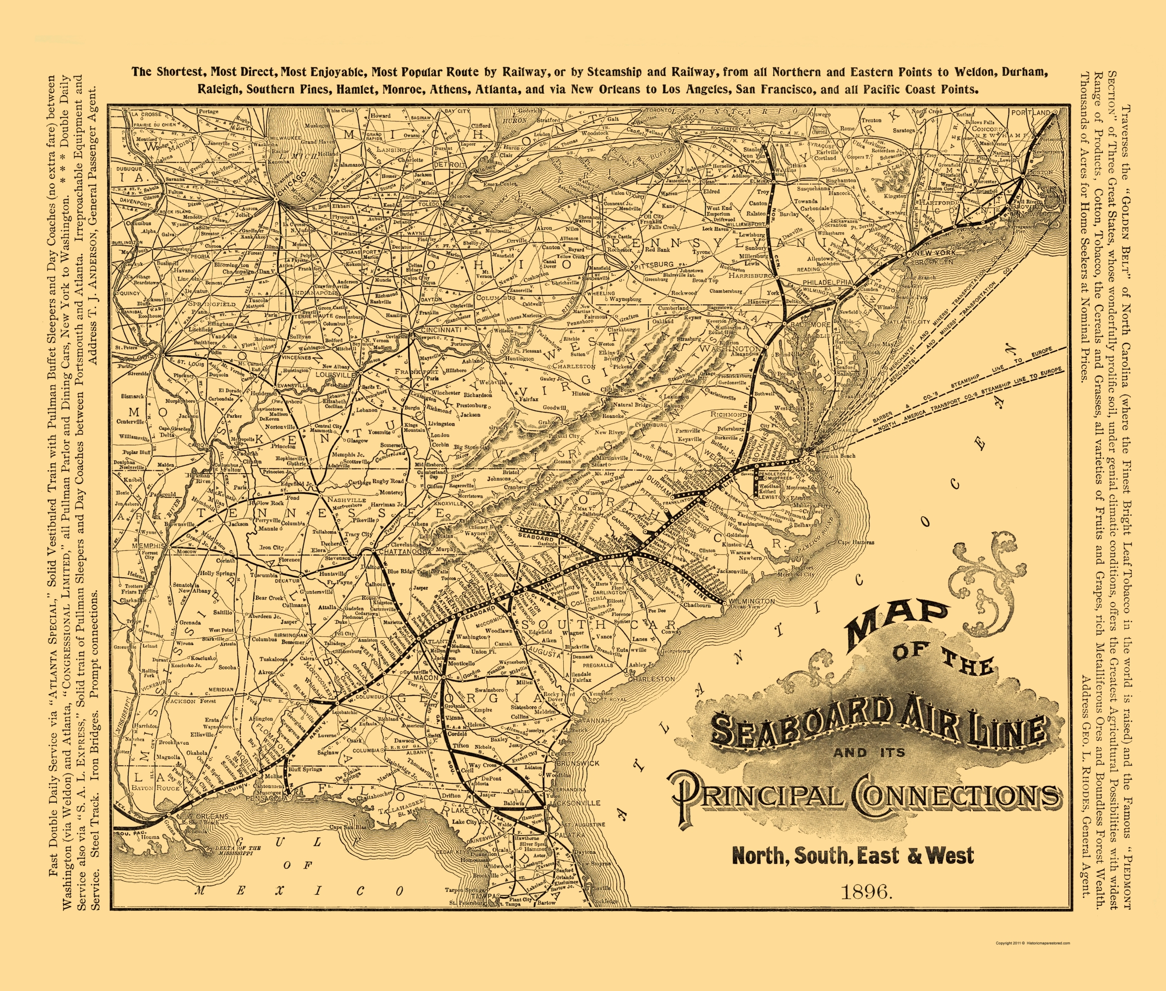 Old Railroad Map Seaboard Air Line Railroad - 1896 map of us