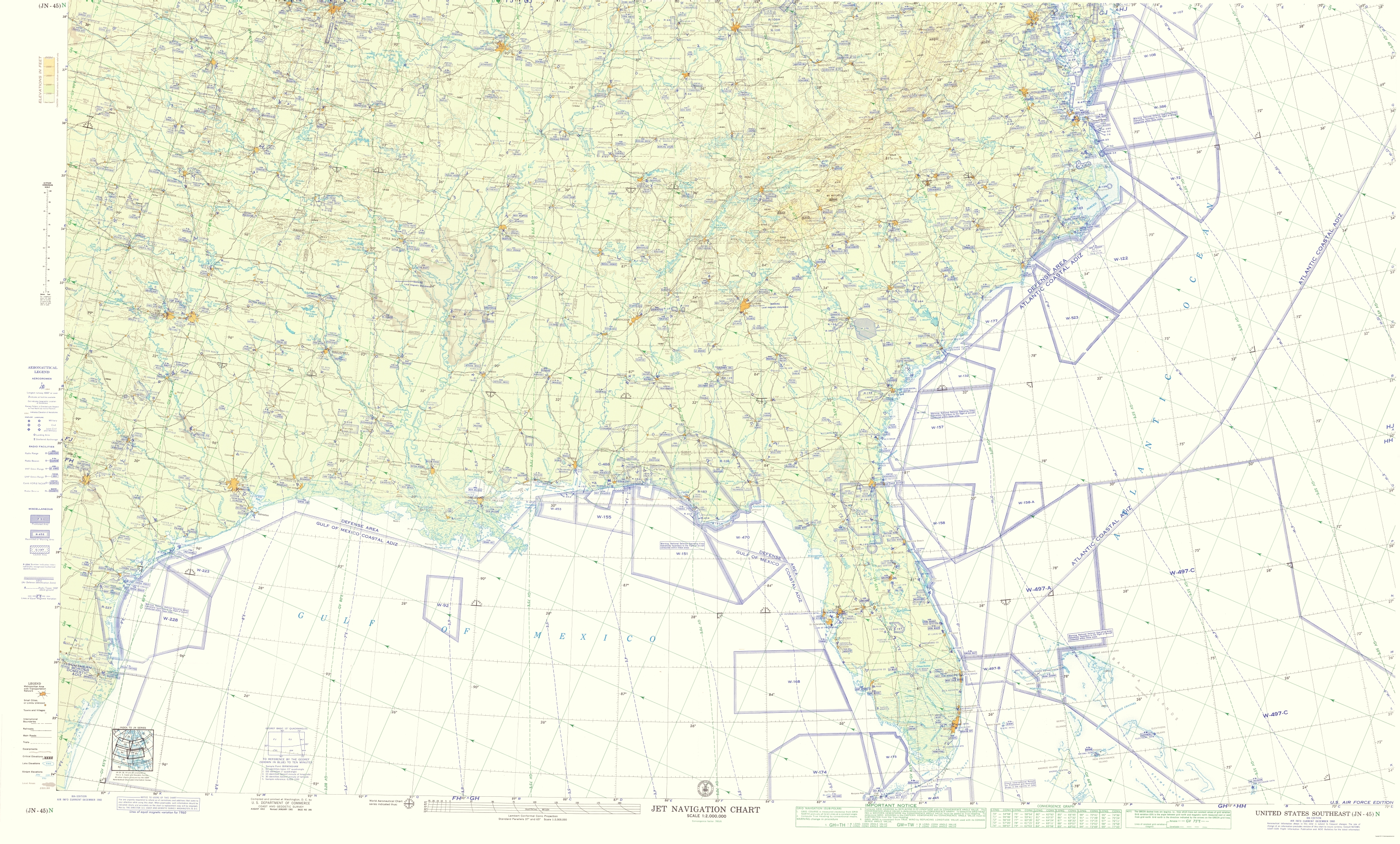 Old Topographical Map - Southeast United States 1960