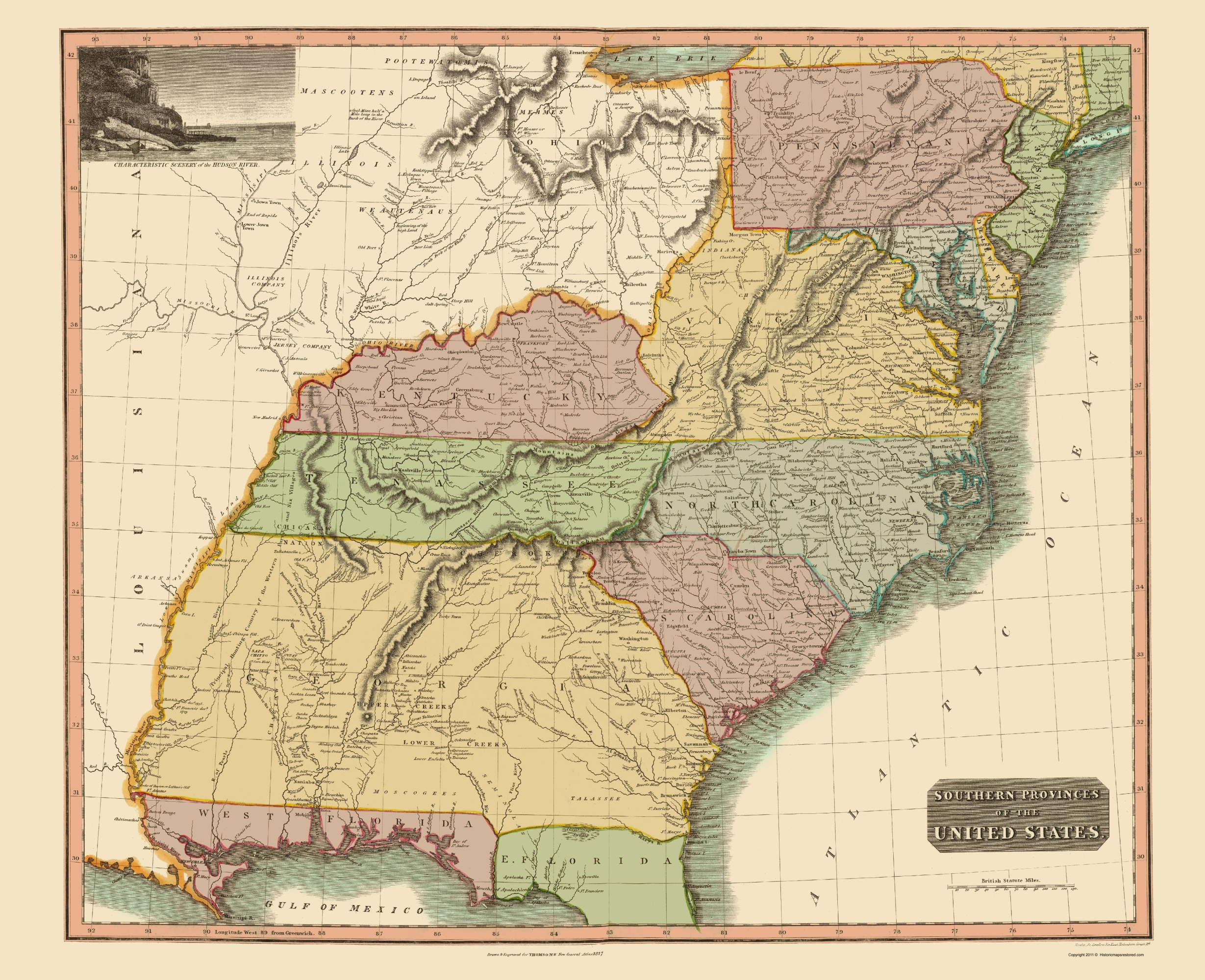 Old State Map Southeastern United States Thomson - Us map west of the mississippi
