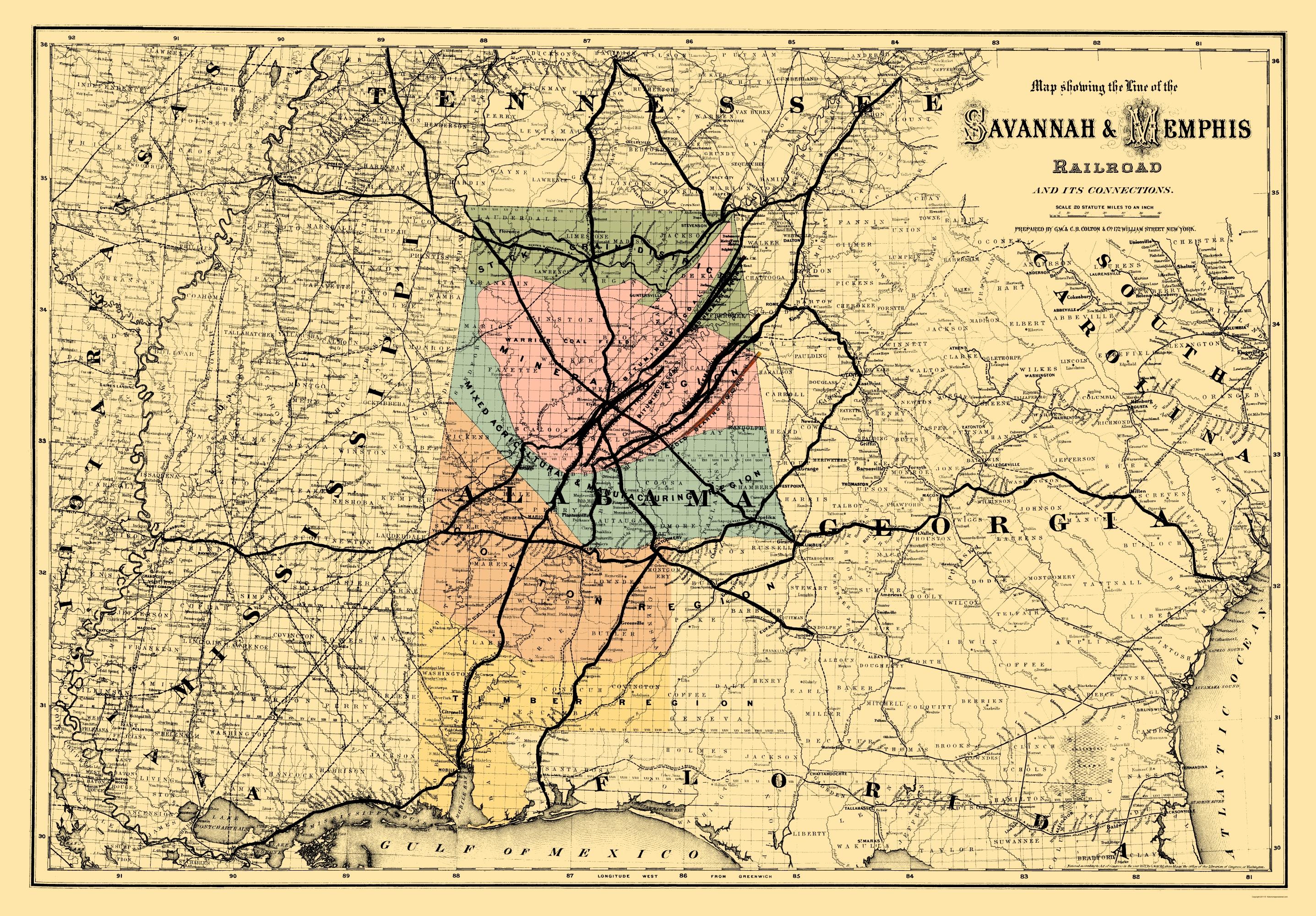 Old Railroad Map Savannah And Memphis Railroad 1872 - Savannah-on-us-map