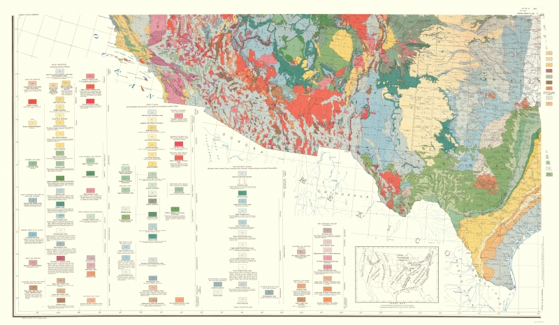 Topographical Map Print - Southwest United States - USGS 1960 - 23 x 39.46
