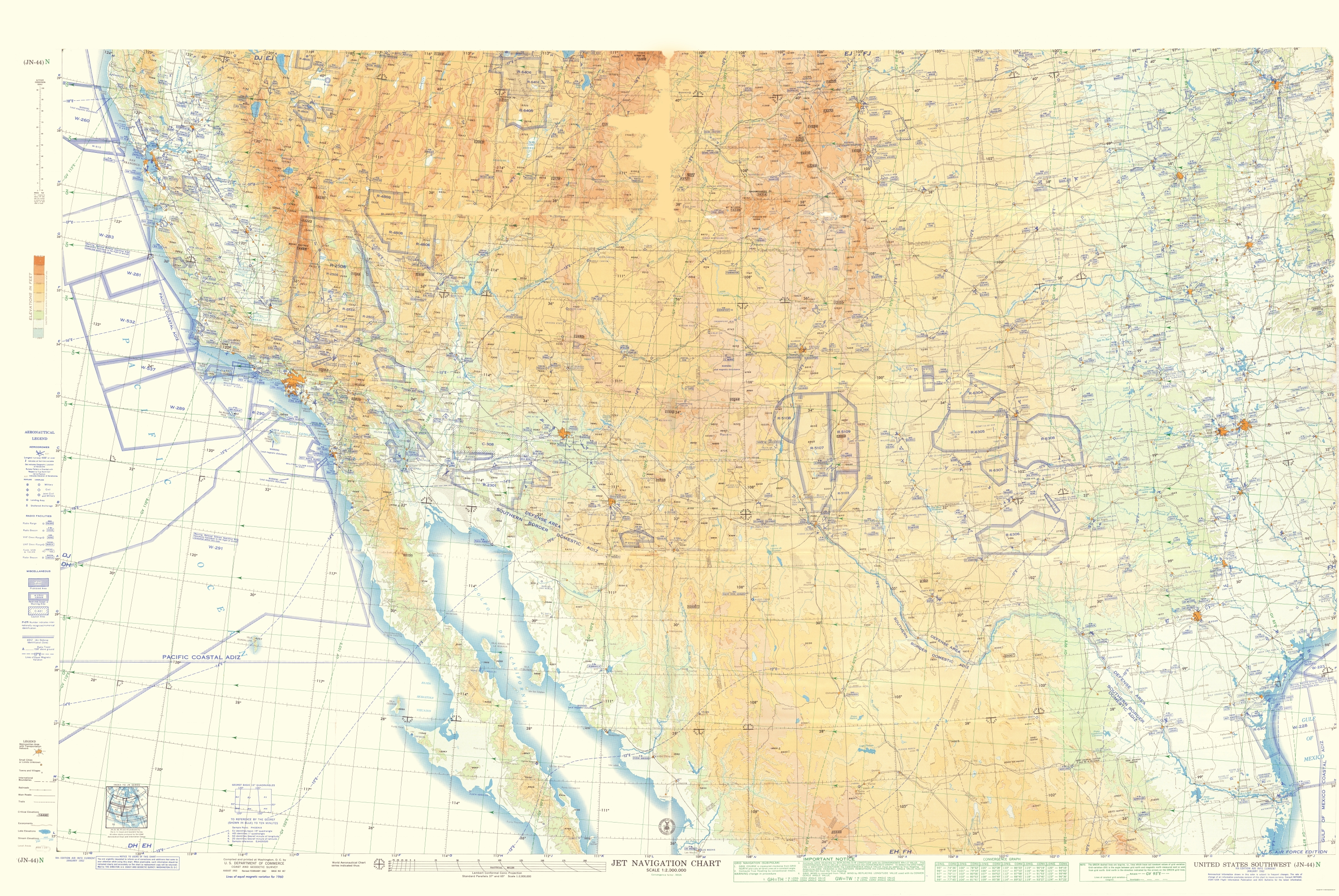 Old Topographical Map Southwest United States 1962 - Southwest-map-us