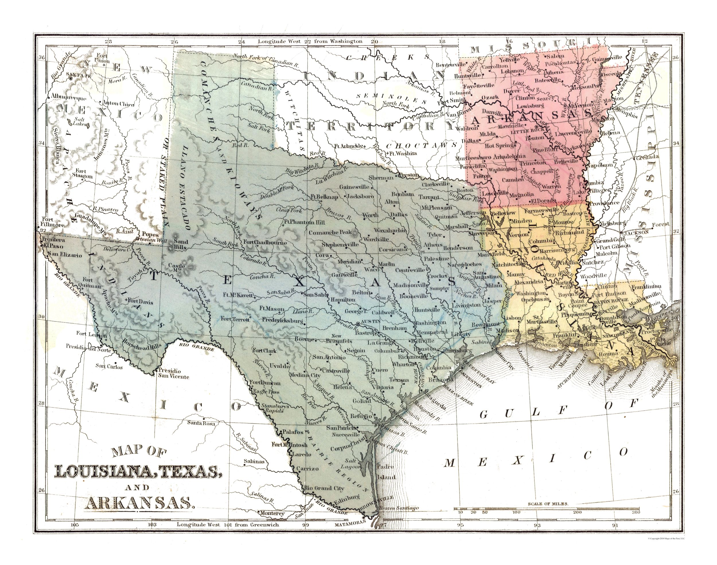 Old State Maps Louisiana Texas Arkansas Mitchell 1869