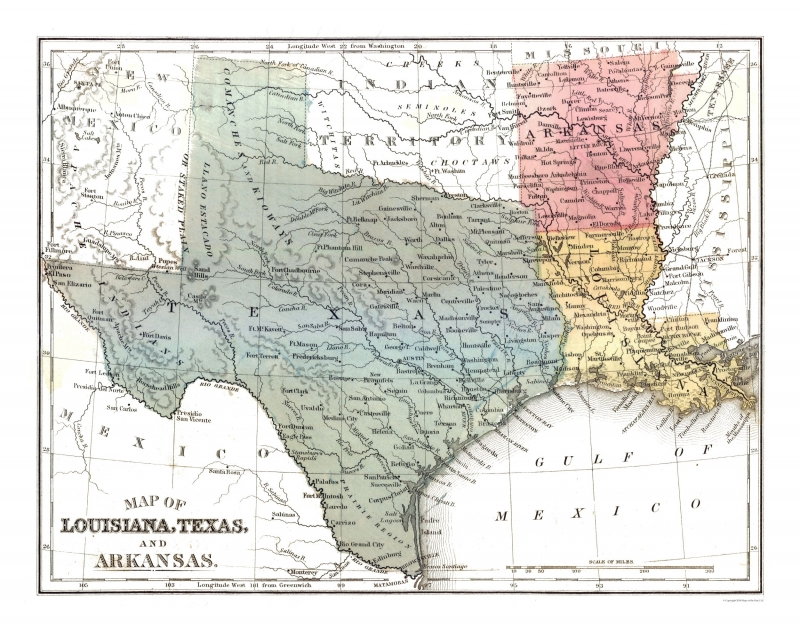 Louisiana Texas Map Old State Maps | Louisiana Texas Arkansas   Mitchell 1869   29.19 x 23