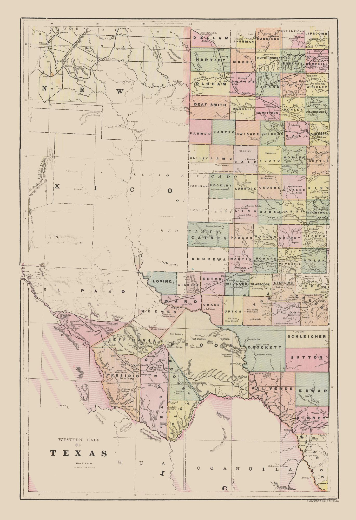 Map Of Western Texas.Old State Map Western Texas Cram 1892 23 X 33 58