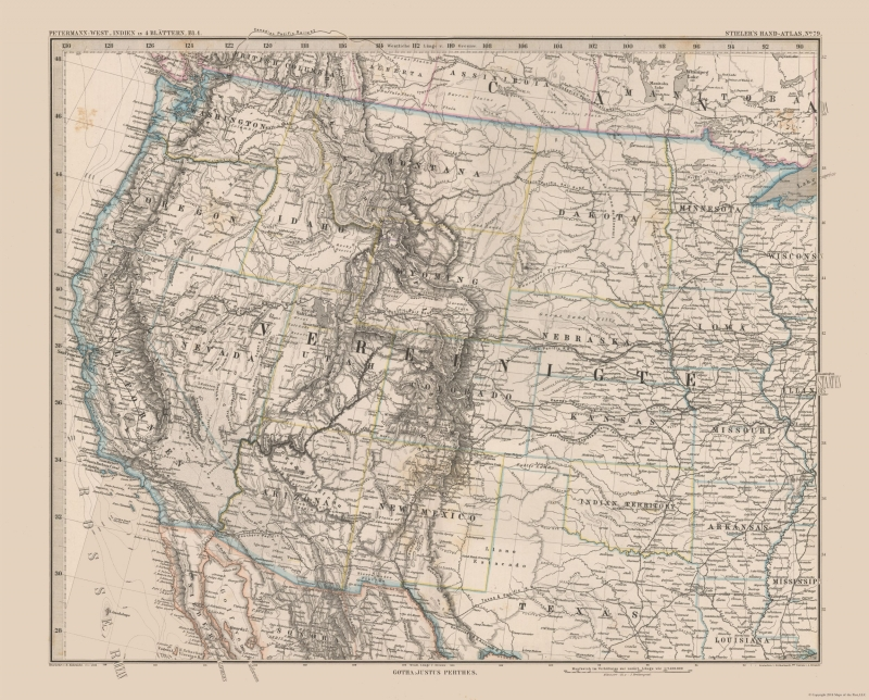 Old United States Map - Western United States - Stielers 1885 - 28.55 x 23