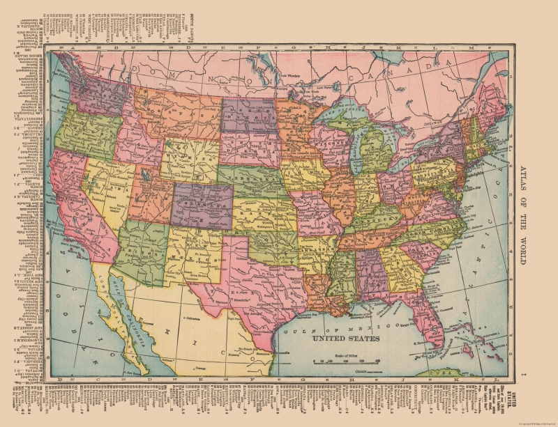 Old State Map - United States - Hammond\'s Atlas 1910 - 30.02 x 23