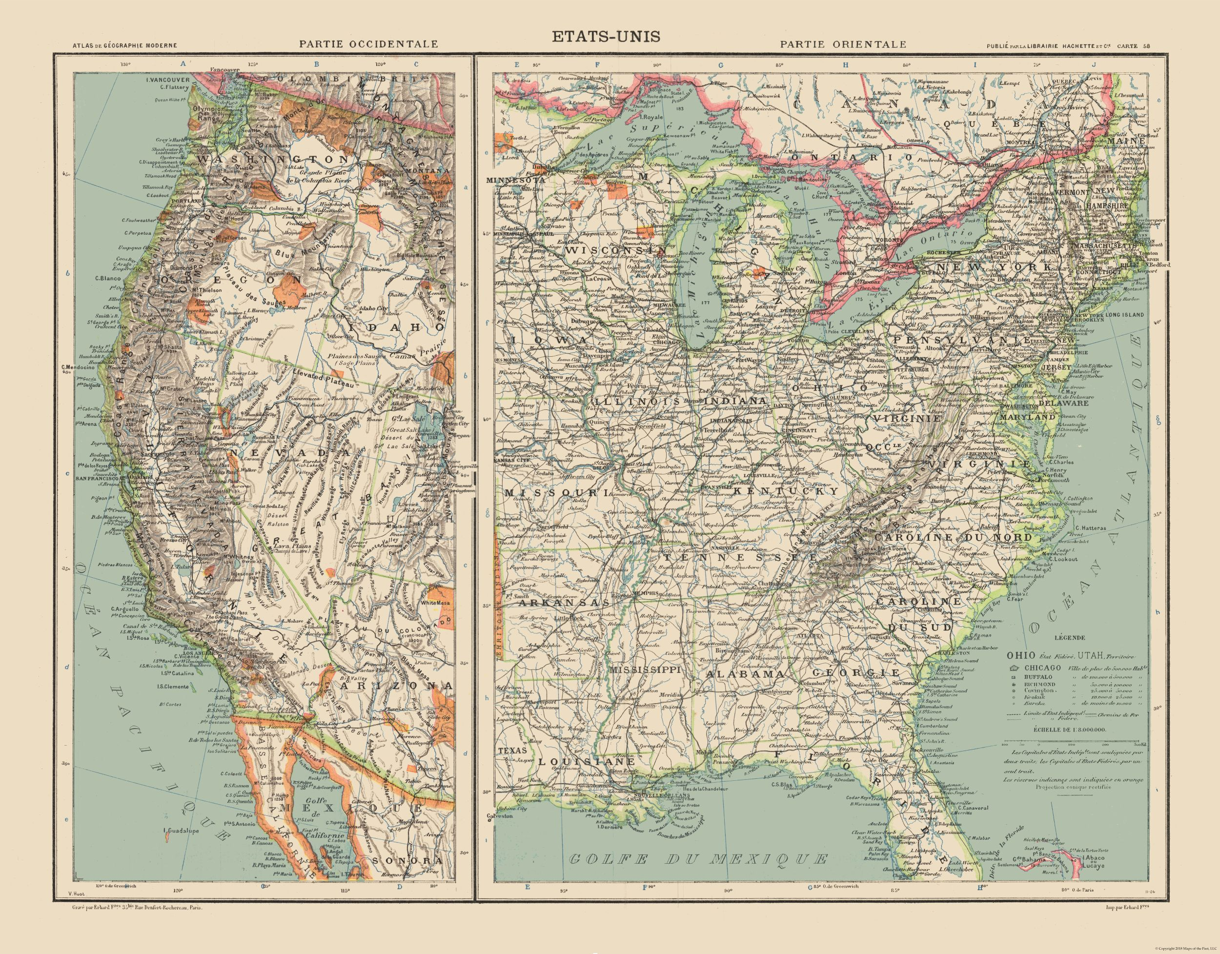 Old State Maps West And East United States Schrader 1908 2941 - Us-map-1908