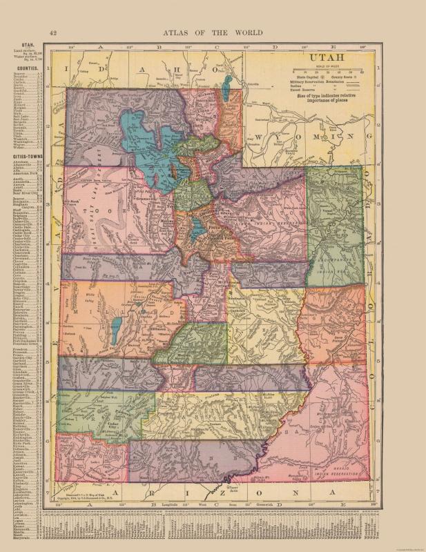 Old State Map - Utah - Hammond's Atlas 1910 - 23 x 29.82 on albuquerque world map, stanford world map, dover world map, elk world map, nj world map, dday world map, slovenia world map, eureka world map, phoenix world map, manhattan world map, the pacific islands world map, japan world map, knoxville world map, manitoba world map, des moines world map, tulsa world map, little rock world map, kalahari world map, fremont world map, california world map,