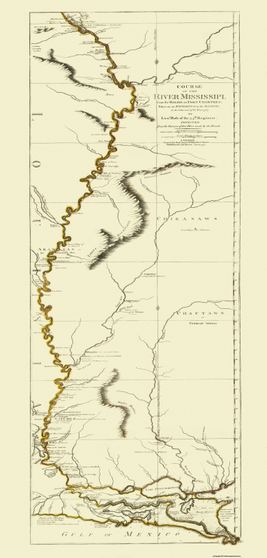 Old Travel Map Mississippi River Louisiana 1775