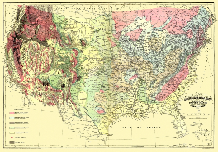 Old Map Us And Territories Geological Map 1874 - Old-map-of-us