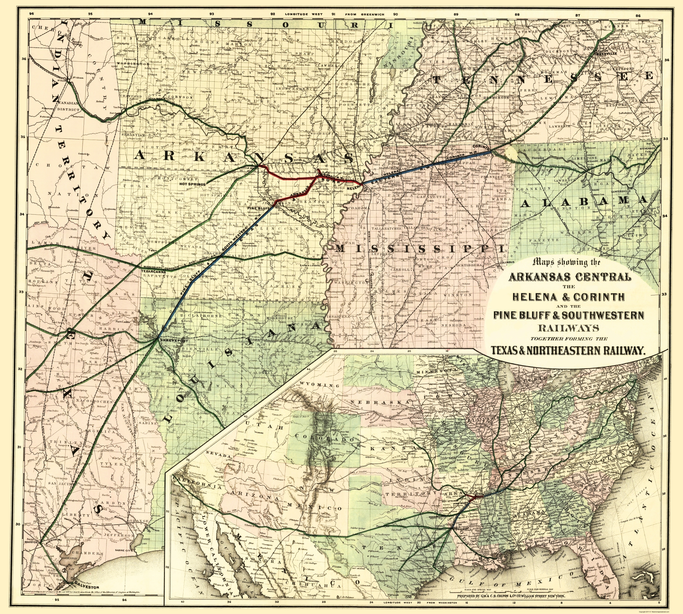 Railroad Map Of Texas.Old Railroad Map Texas And Northeastern Railway Colton 1872 23 X 25 58