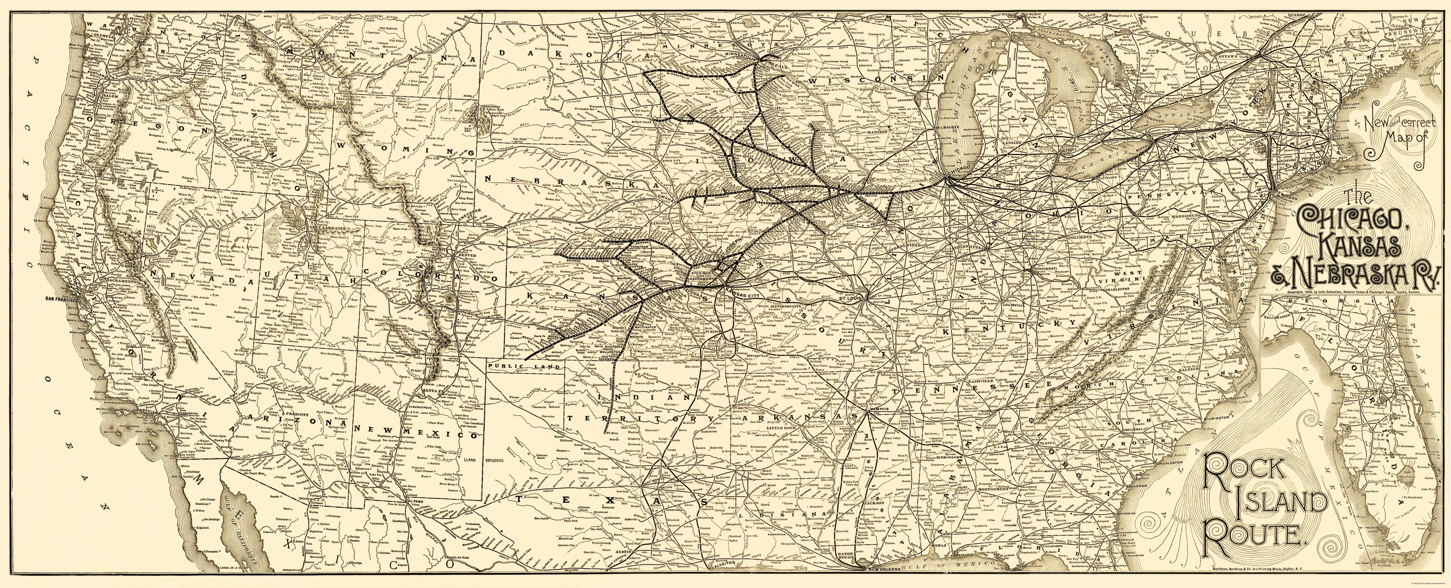 Old Kansas Map.Old Map Chicago Kansas And Nebraska Railroad 1888