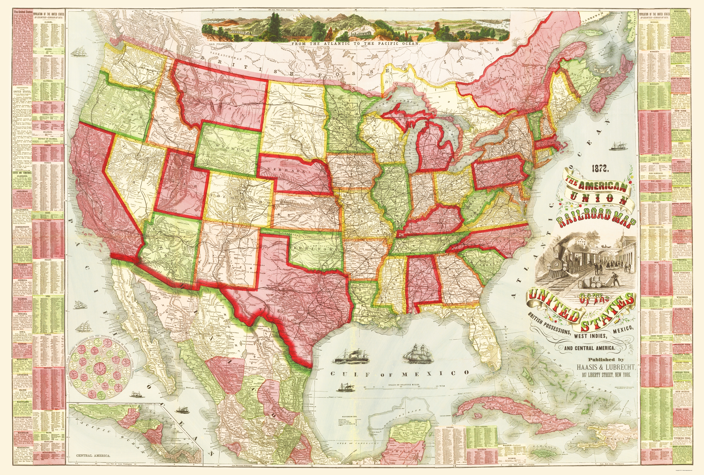 Old Railroad Map American Union Railroads 1866 - Old-map-of-us