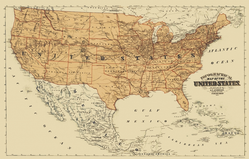 Map Of Canada In 1873.Old North America Map United States Mexico Canada Andreas 1873 23 X 35