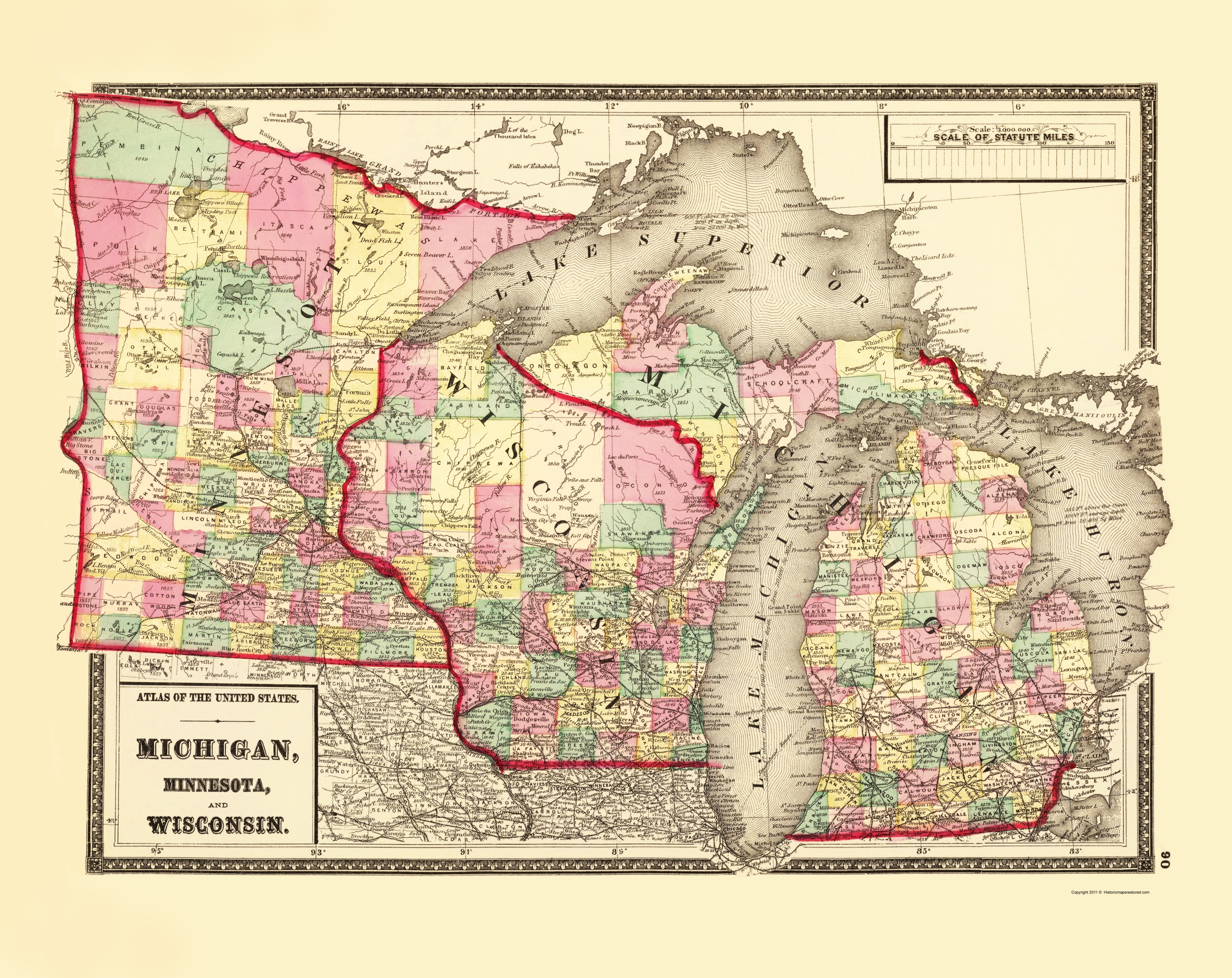 Old State Map - Michigan, Minnesota , Wisconsin 1873