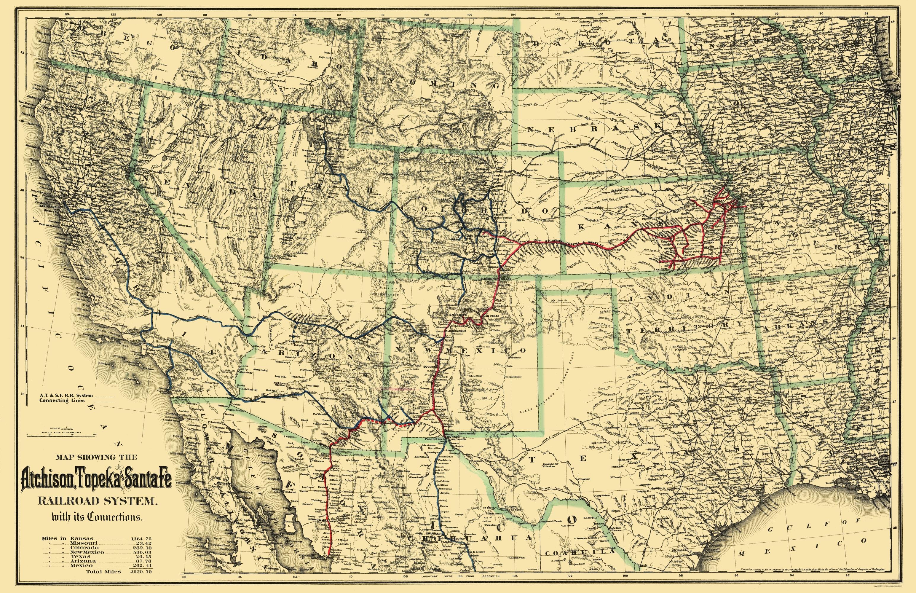 Old Map Atchison Topeka And Santa Fe Railroad System - Atchinson topeka and santa ferailroad on the us map