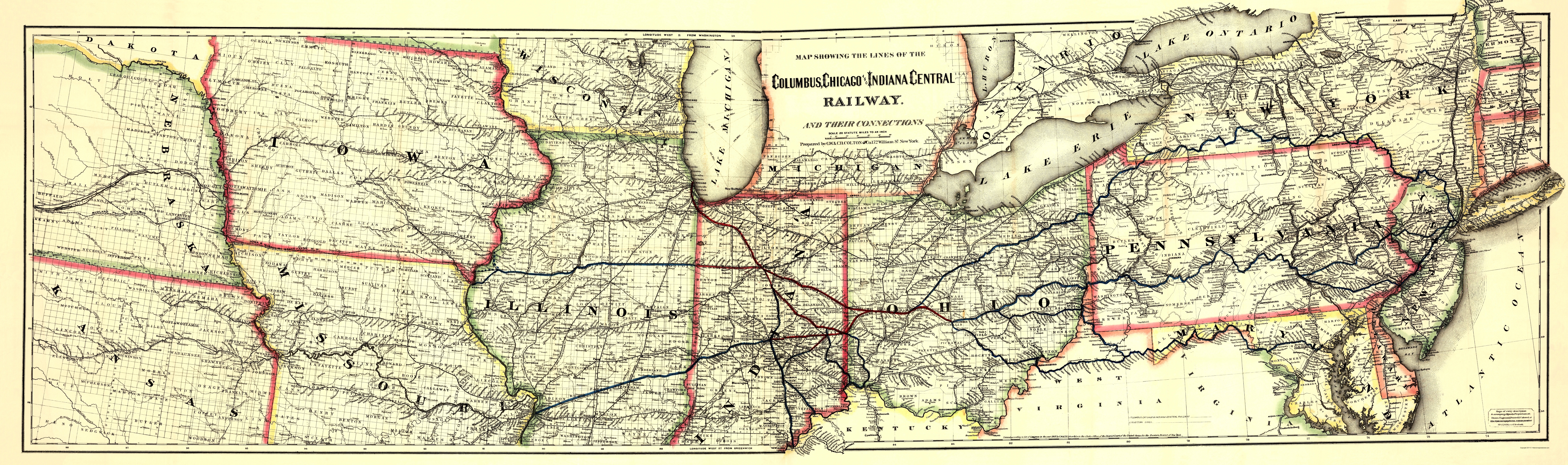 Old Railroad Map Columbus Chicago and Indiana Central Railway