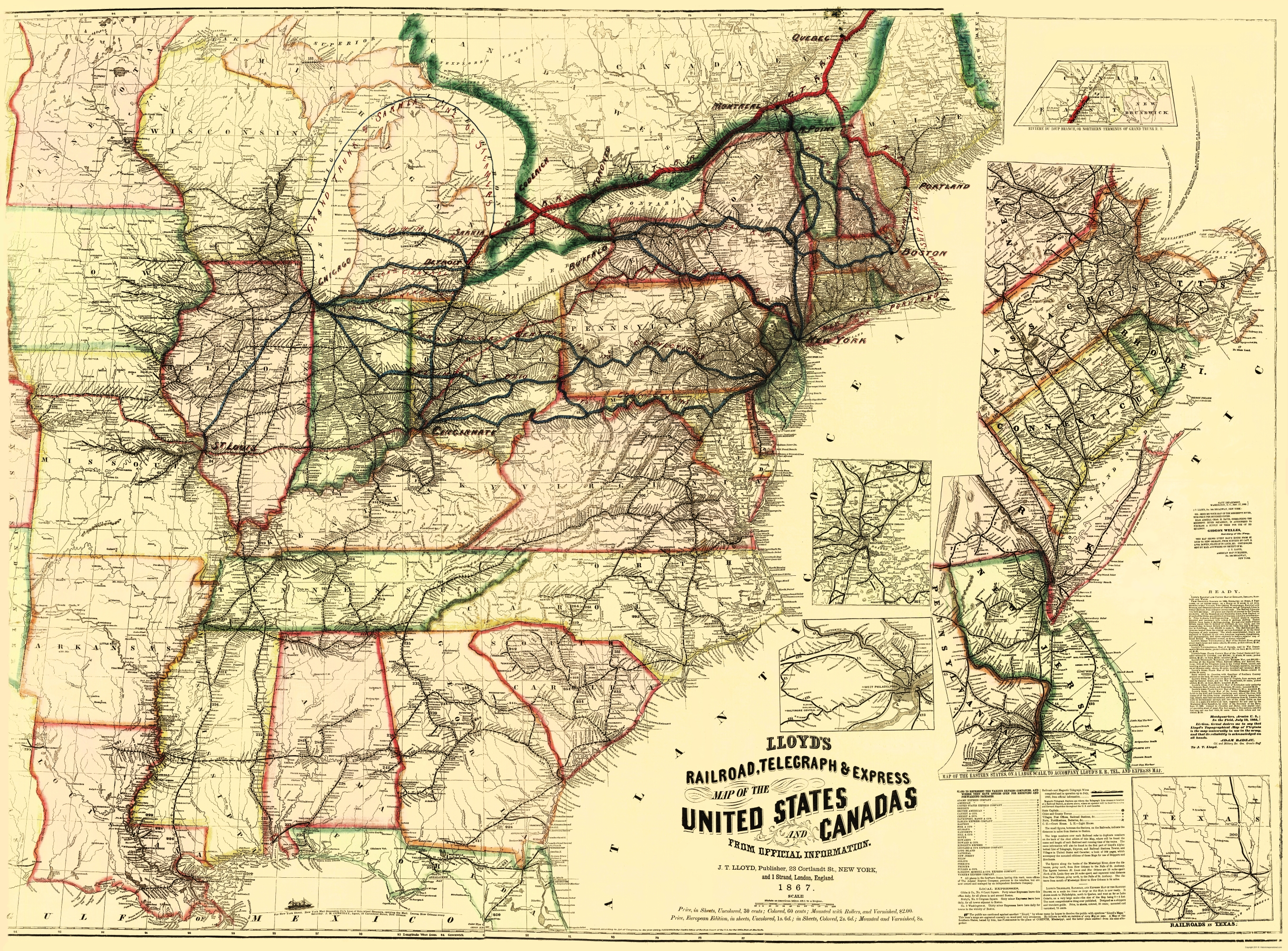 Old Map Railroads Telegraph Express In US - 1867 us map
