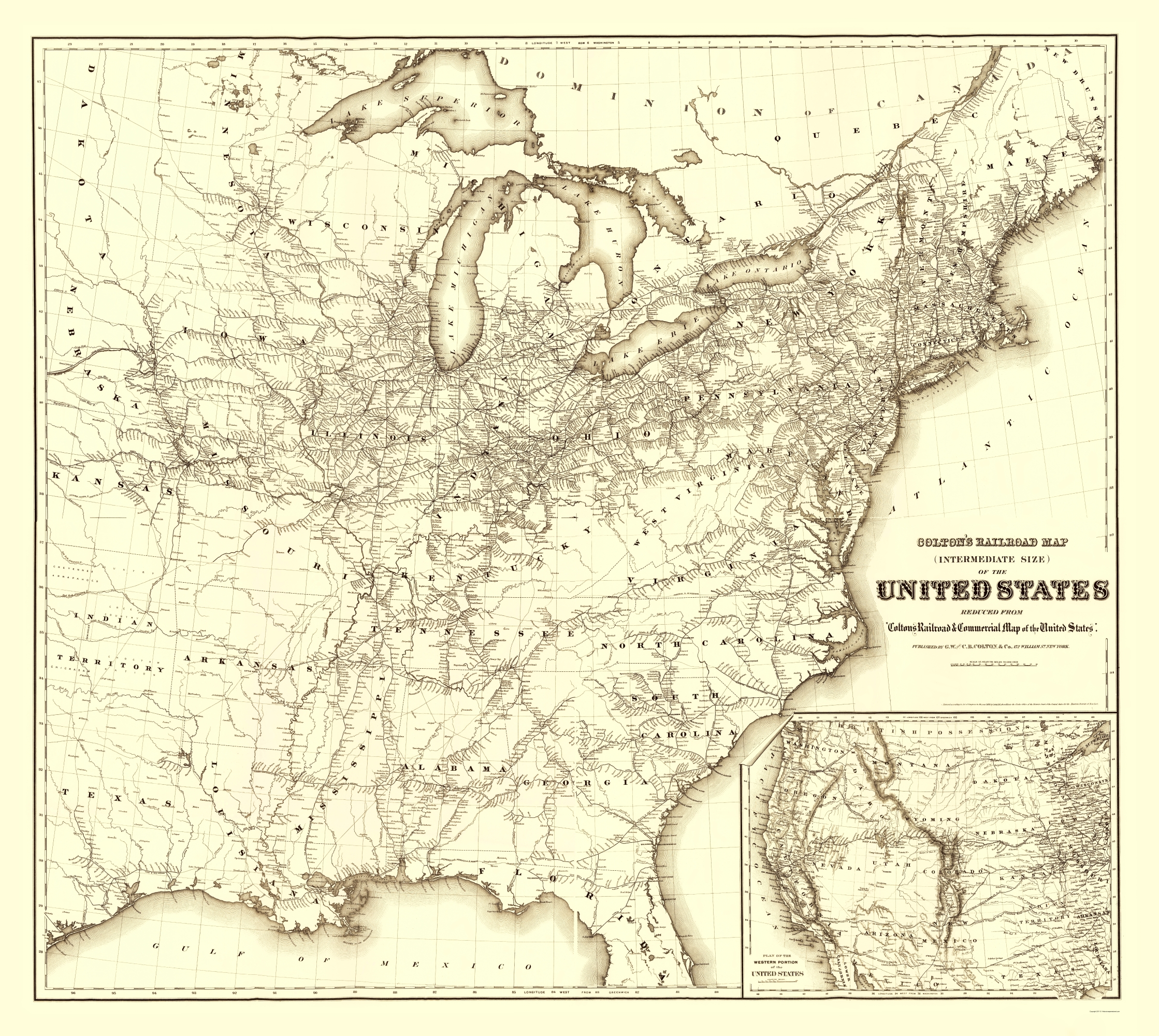 Old Railroad Map United States Railroads 1870