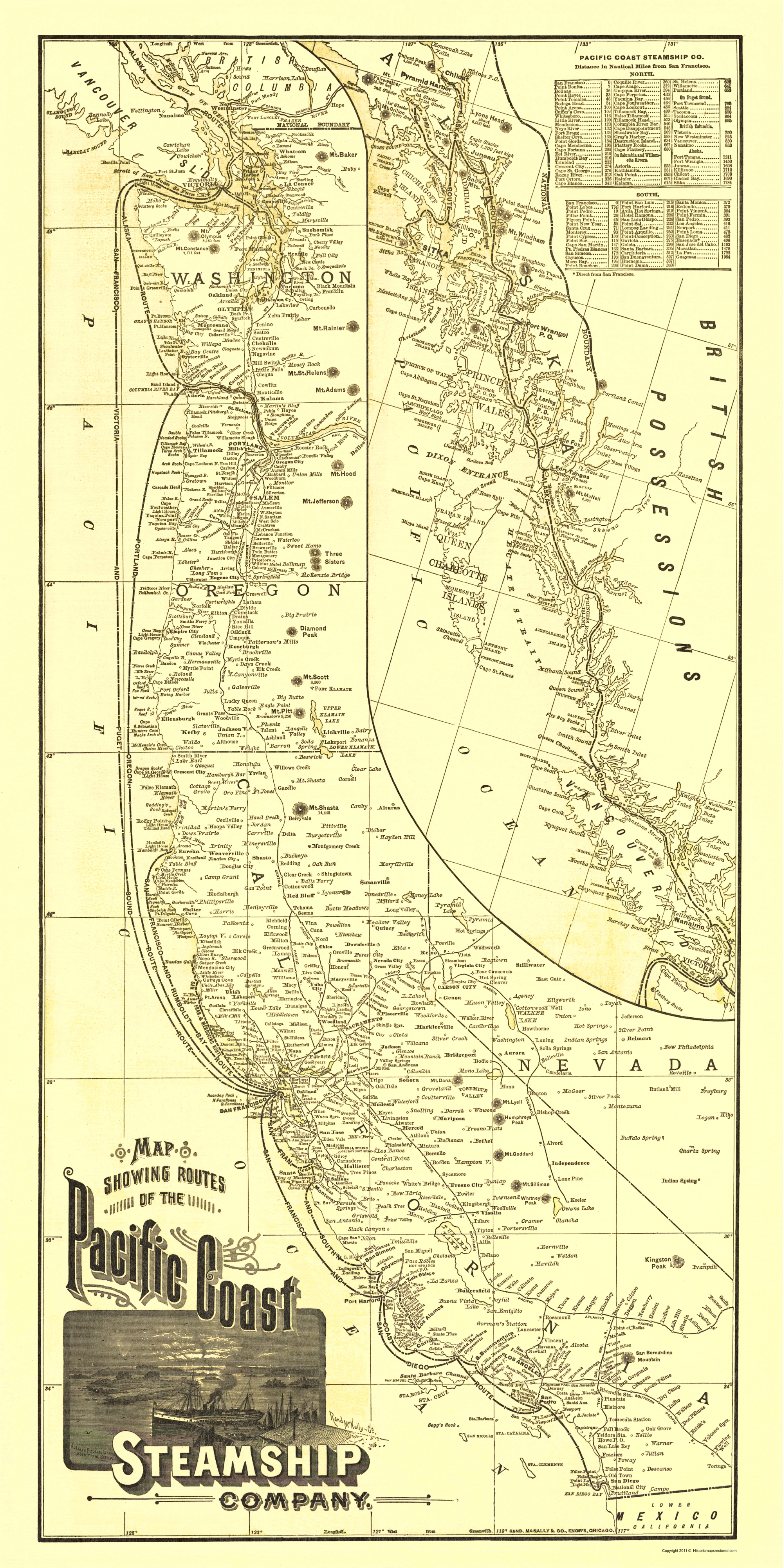 Travel Map Pacific Coast Steamship Company Routes - Map of us pacific coast