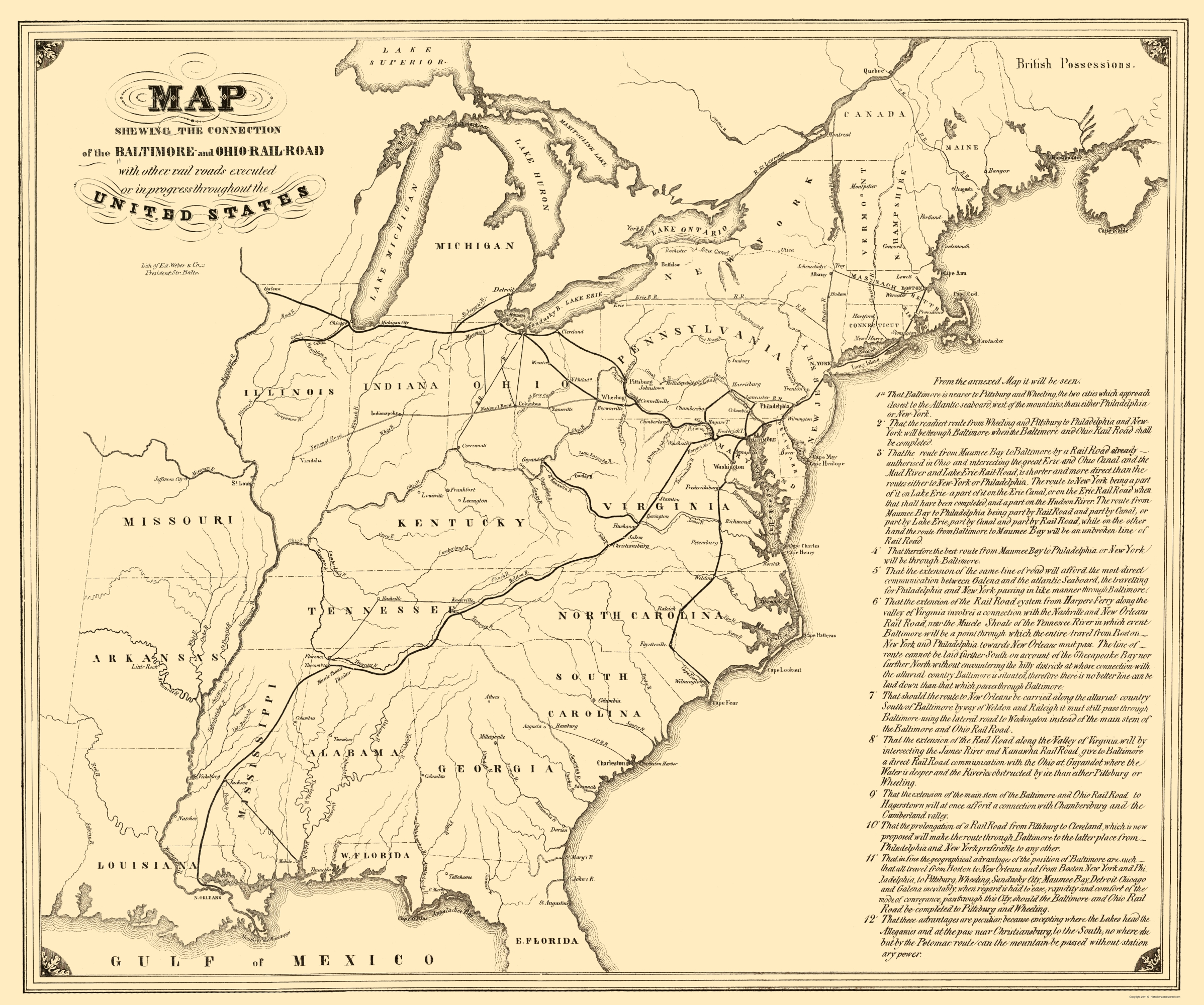 Old Map Baltimore Ohio Railroad With Connections - Map of the us in 1840