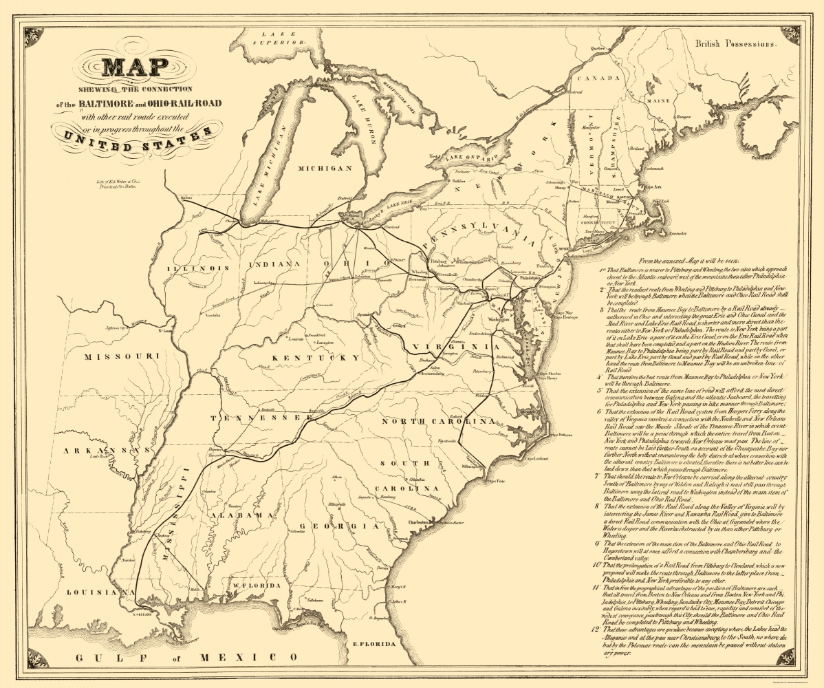 Old Map Baltimore Ohio Railroad With Connections 1840 - Us-map-1840