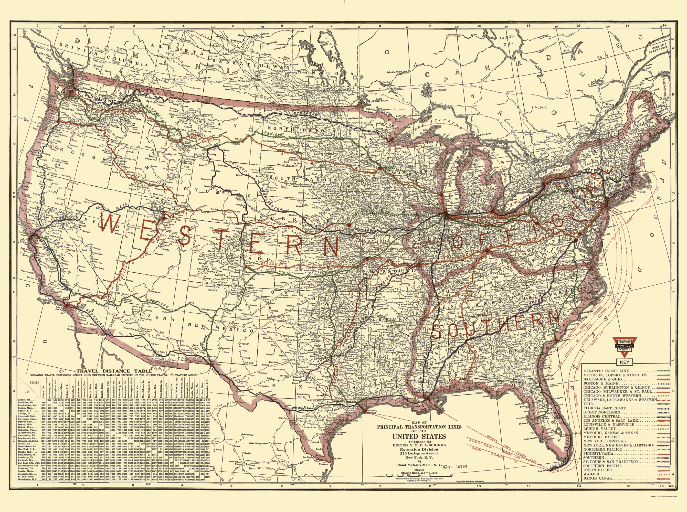 Old Map United States Transportation Lines 1921 - Old-map-of-us
