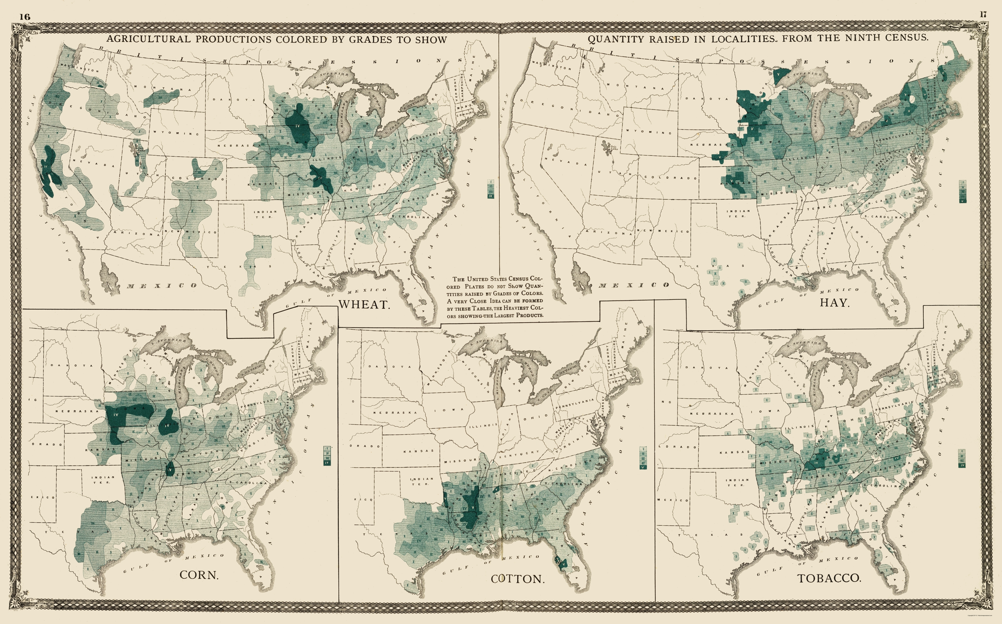 Old State Map US Agriculture Production Baskin - Us agriculture map