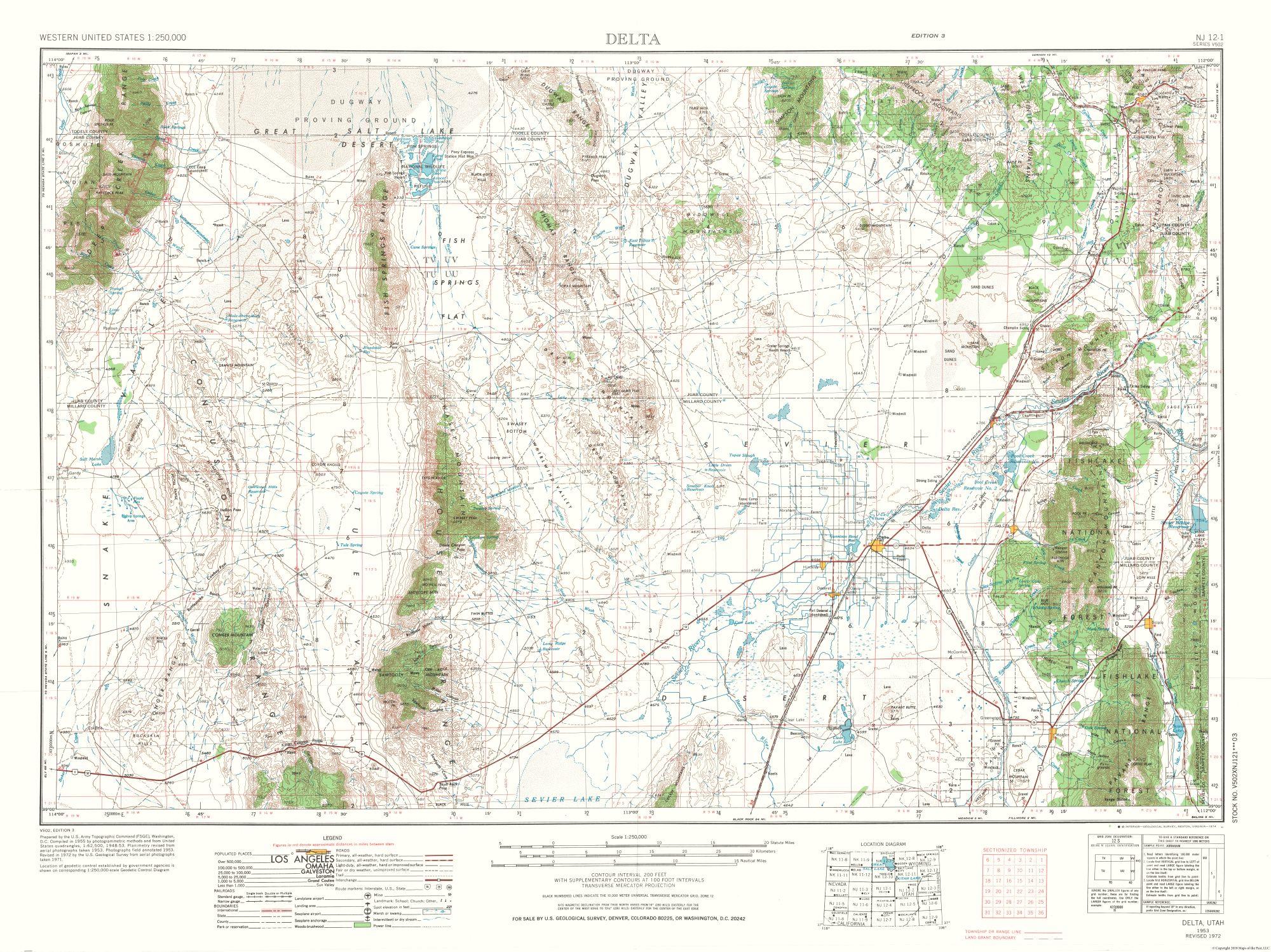 Historical Topographical Maps Delta Utah Quad Usgs 1953 30 71 X 23