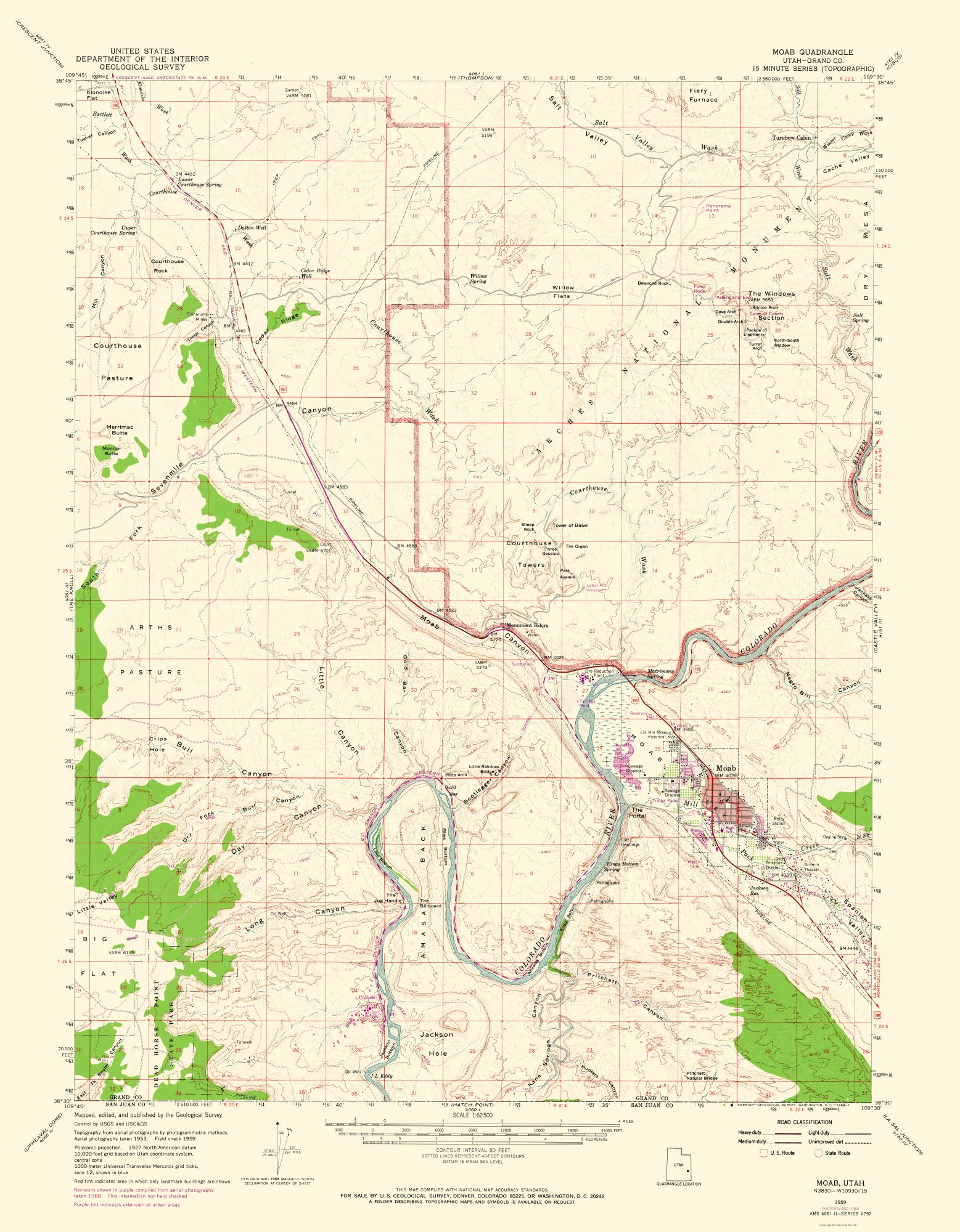 Historical Topographical Maps | Moab Utah Quad - USGS 1959 - 23 x 29.54
