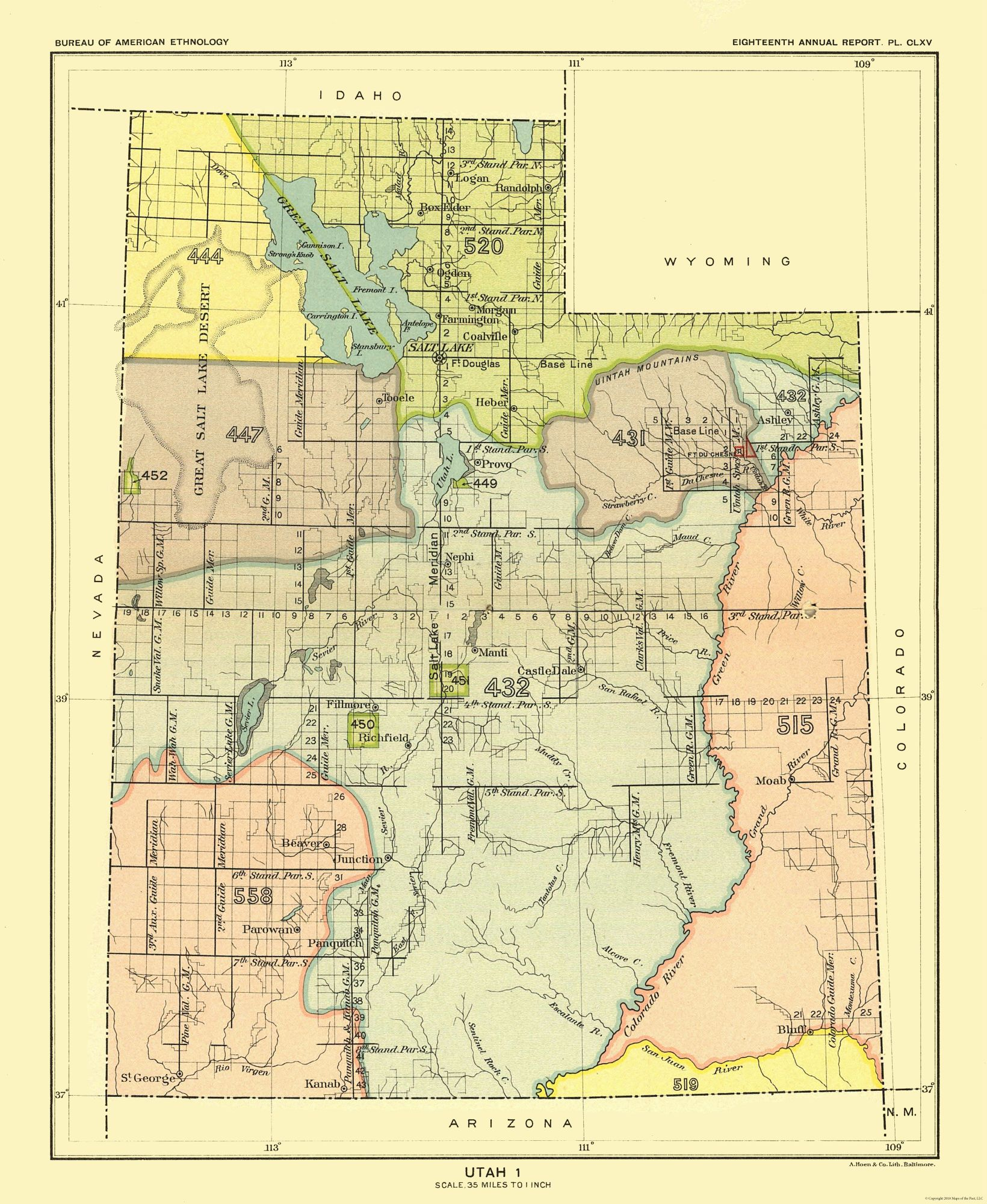 Old State Map - Utah - Great Salt Lake - Hoen 1896 - 23 x 28.06