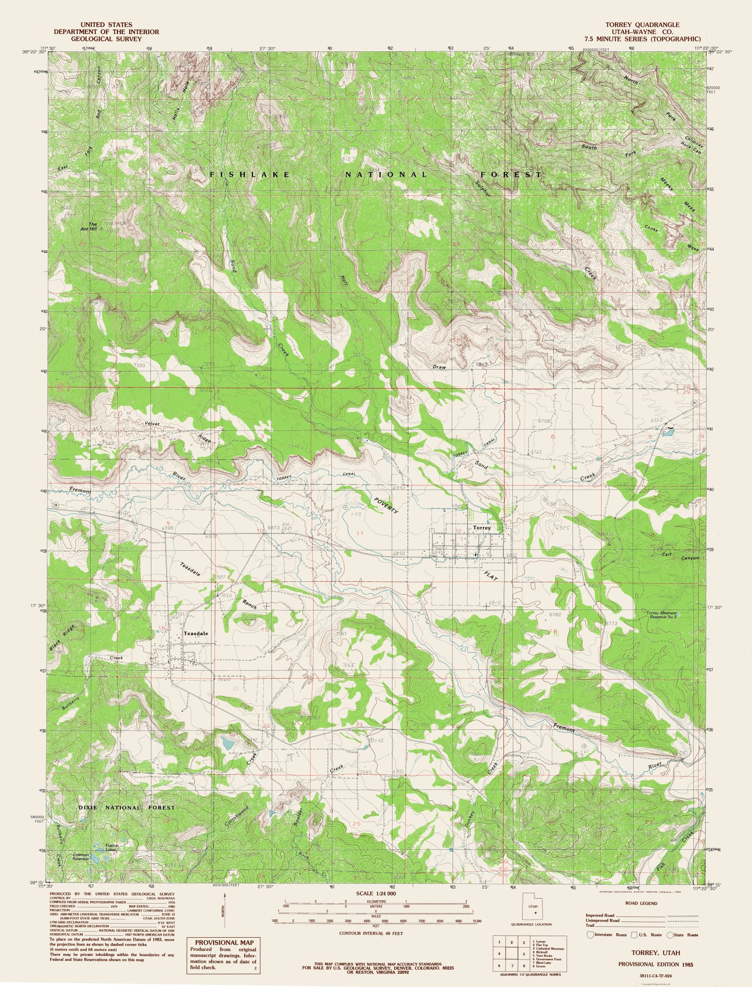 Topographic Map - Torrey Utah Quad - USGS 1985 - 23 x 30.17