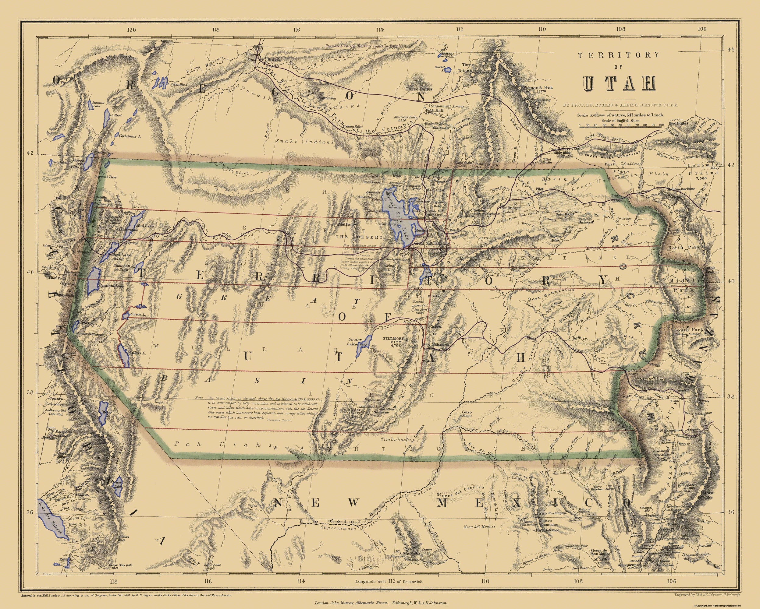 Old State Map - Utah Territory - Rogers and Holt 1857 - 28.69 x 23